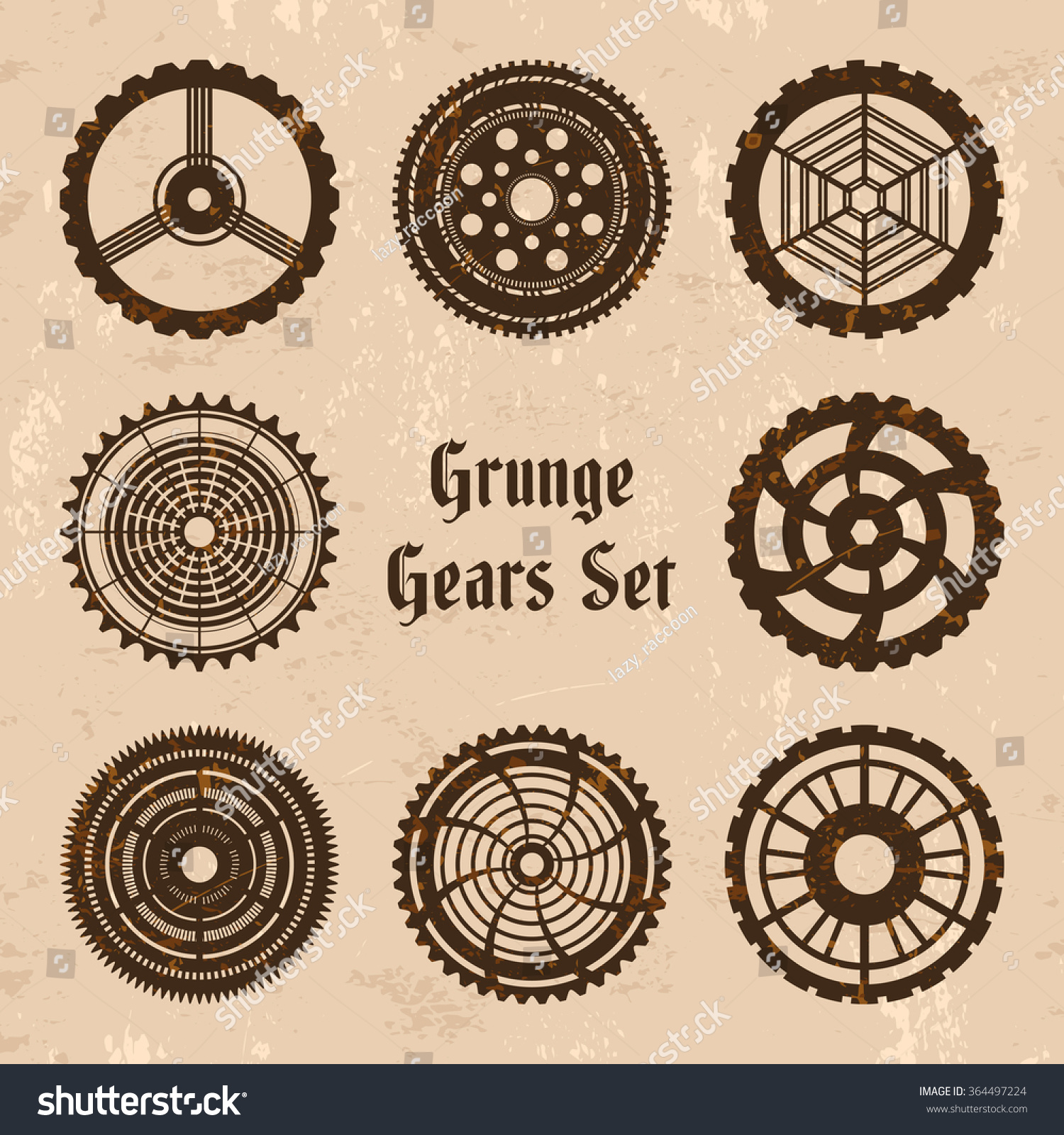 Vector grunge rusty gears set in steam punk style 8 steam punk cogwheels on grungy backdrop with text Grunge Gears Set Fully editable file for your projects