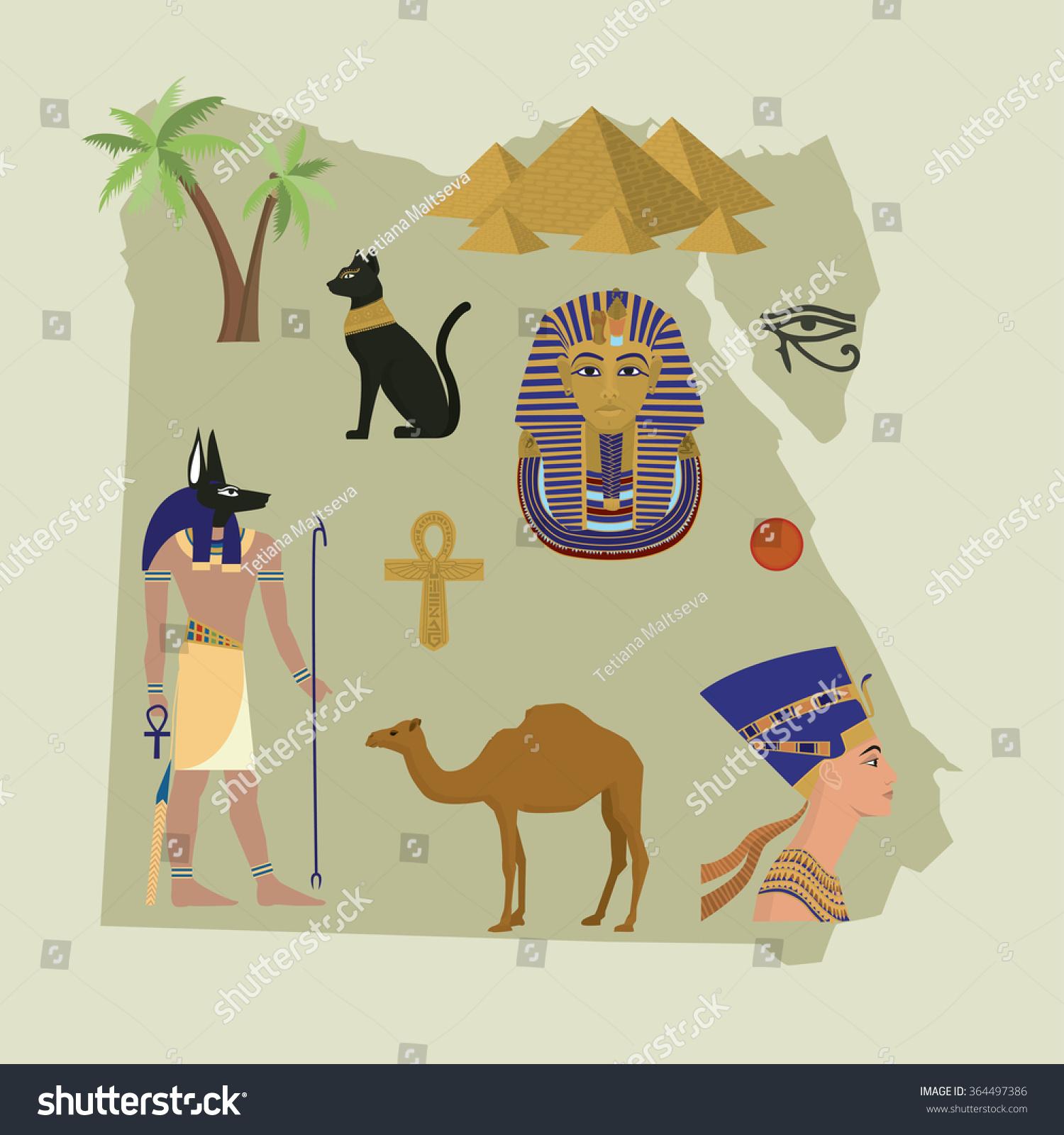 Symbols Egyptian Culture Map Egyptvector Illustration Stock Vector - Map of egypt vector free