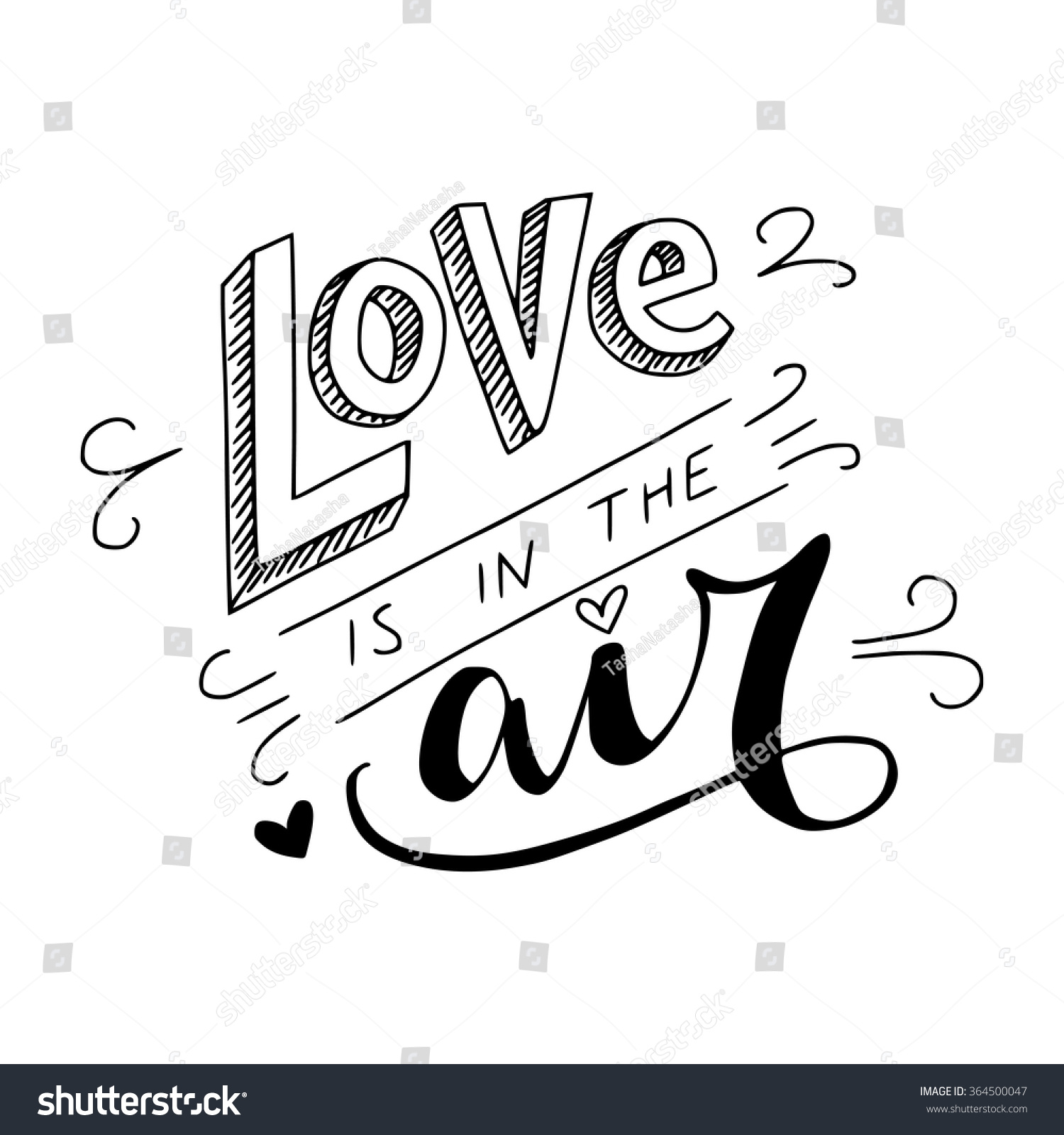 Black White Love Air Hand Lettering Stock Vector Royalty Free