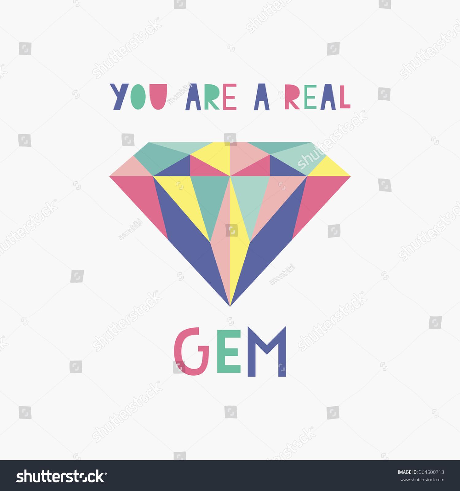 You Gem Card Vector Illustration Stock Vector 364500713