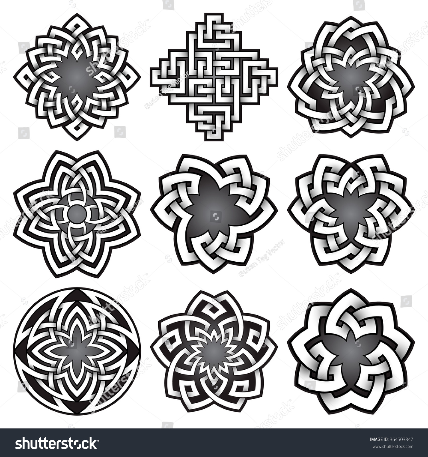 Royalty Free Set Of Logo Templates In Celtic Knots 364503347 Stock