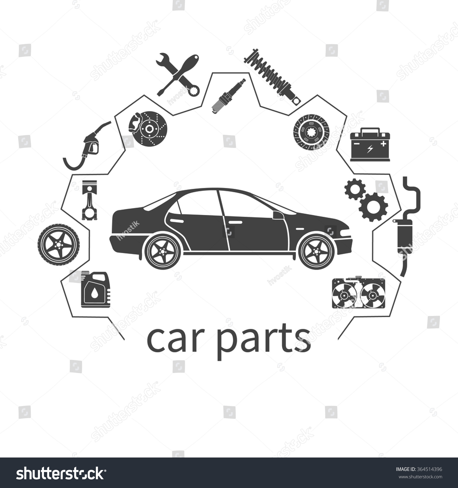 Car Parts Set Icons Auto Spare Stock Vector 364514396 - Shutterstock