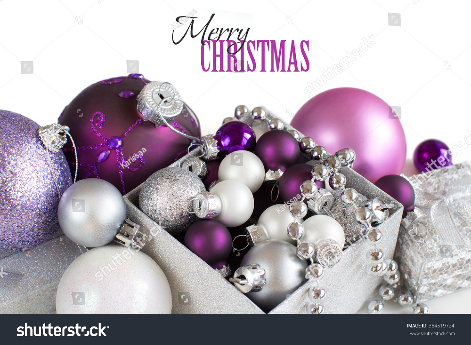 Purple and silver christmas decorations - Silver And Purple Christmas Ornaments Border On White Background