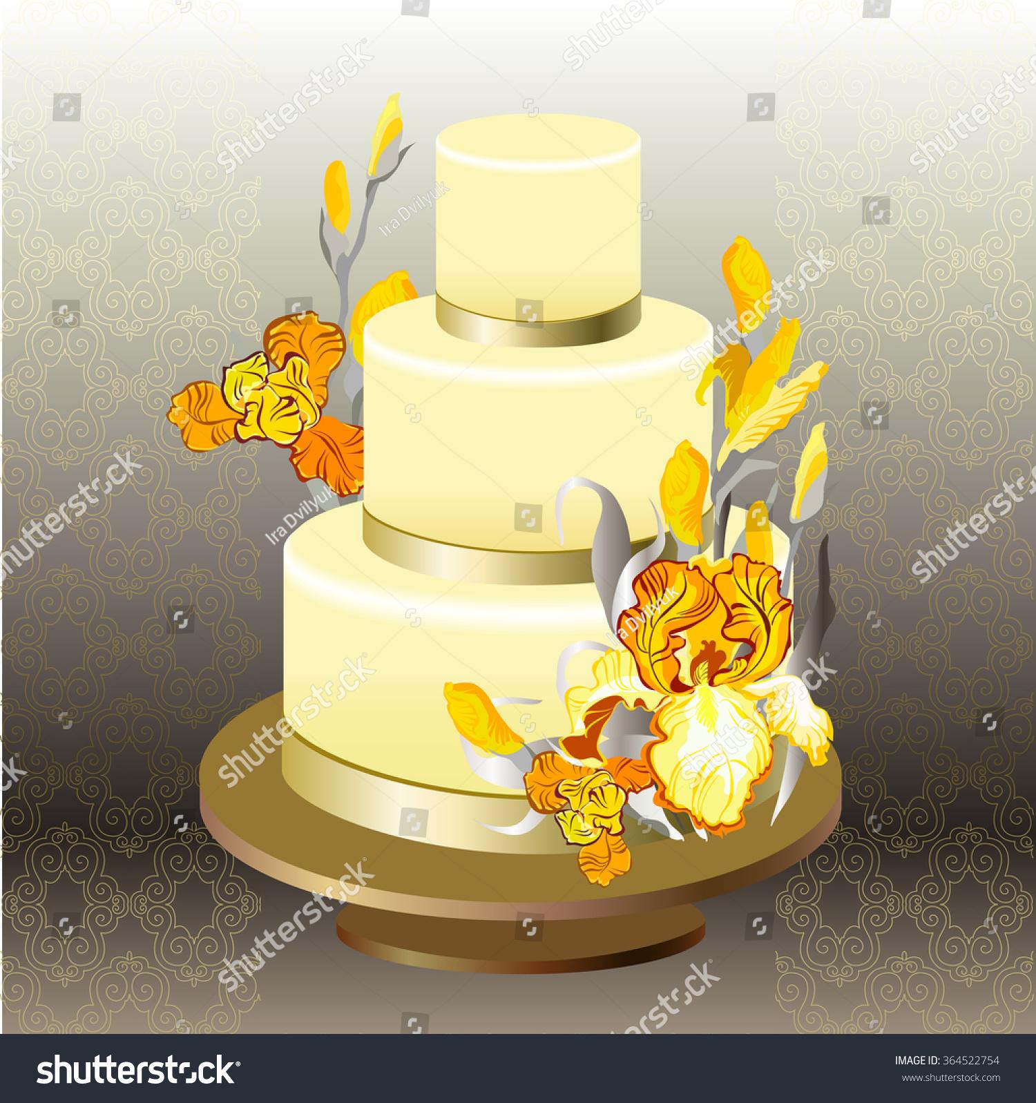 Wedding Cake Gold Orange Yellow Iris Stock Vector (Royalty Free ...
