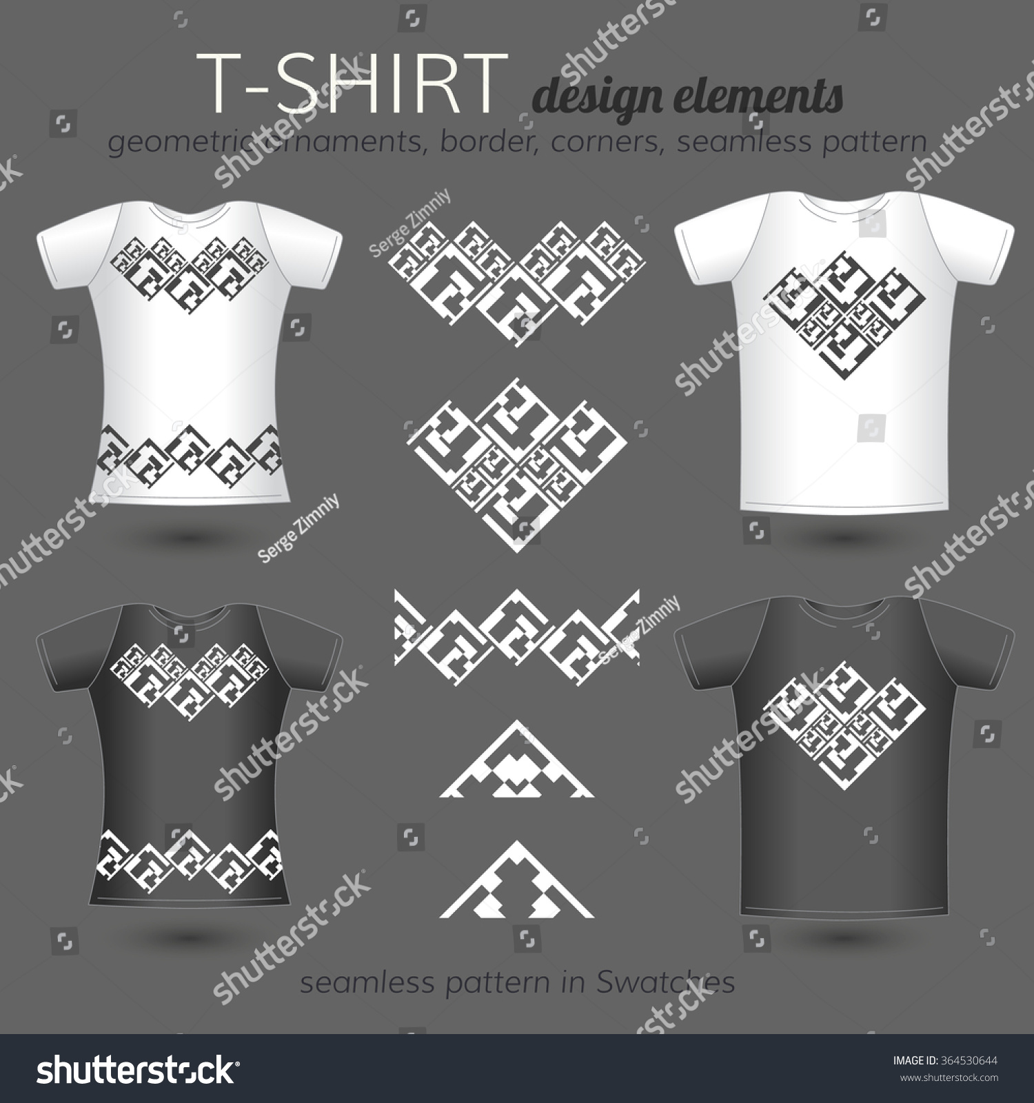 Shirt design elements - Male And Female T Shirt Design Elements Vector Template Of Black And White T