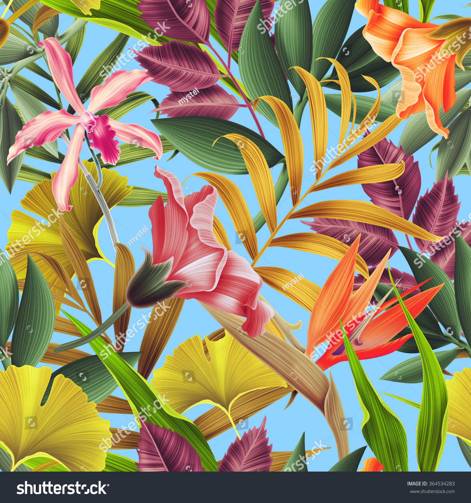 Leaf pattern background retro botanical style stylish flowers print - Seamless Tropical Flower Plant Leaf Pattern Stock