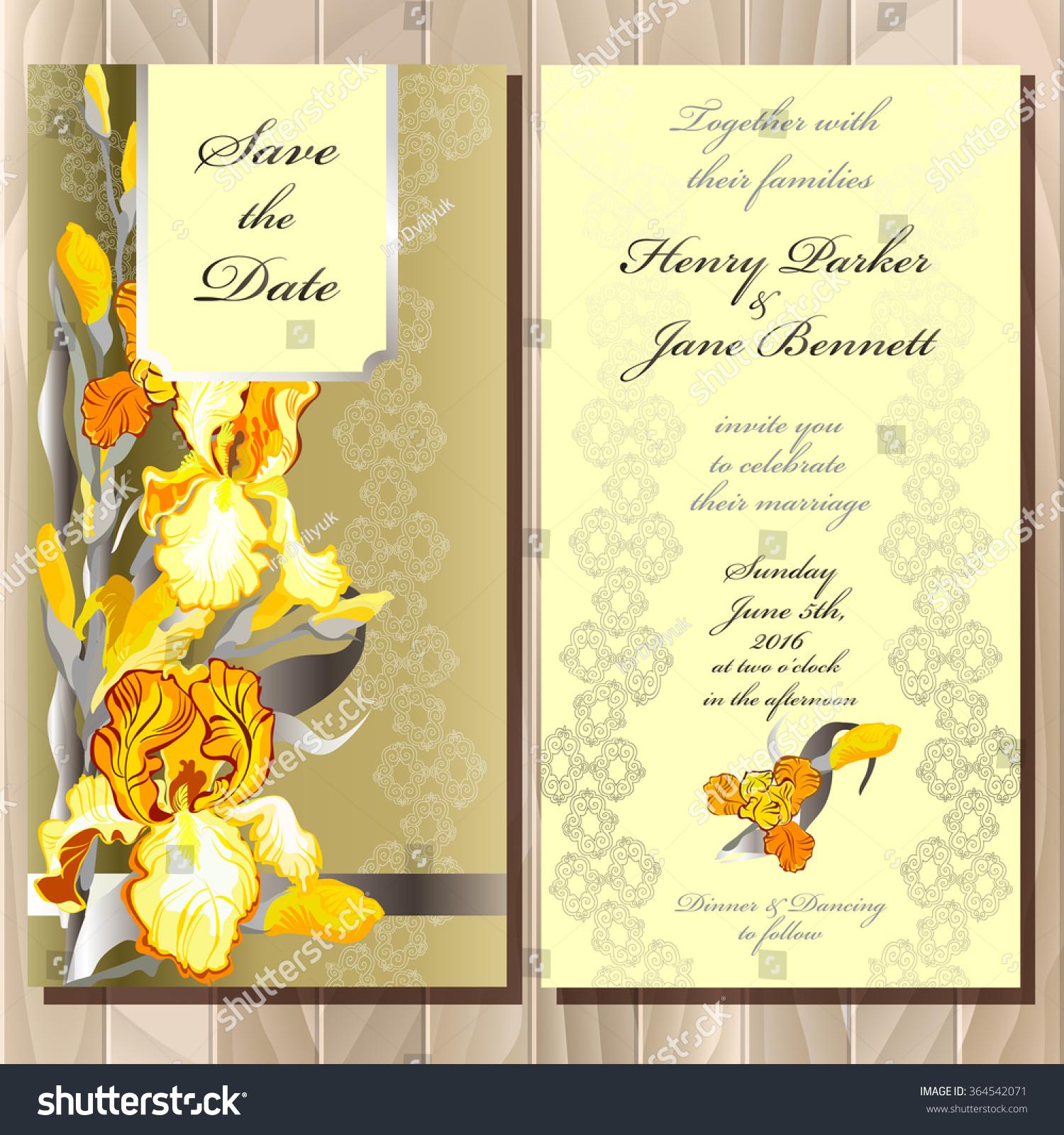 wedding invitation yellow orange golden iris stock vector