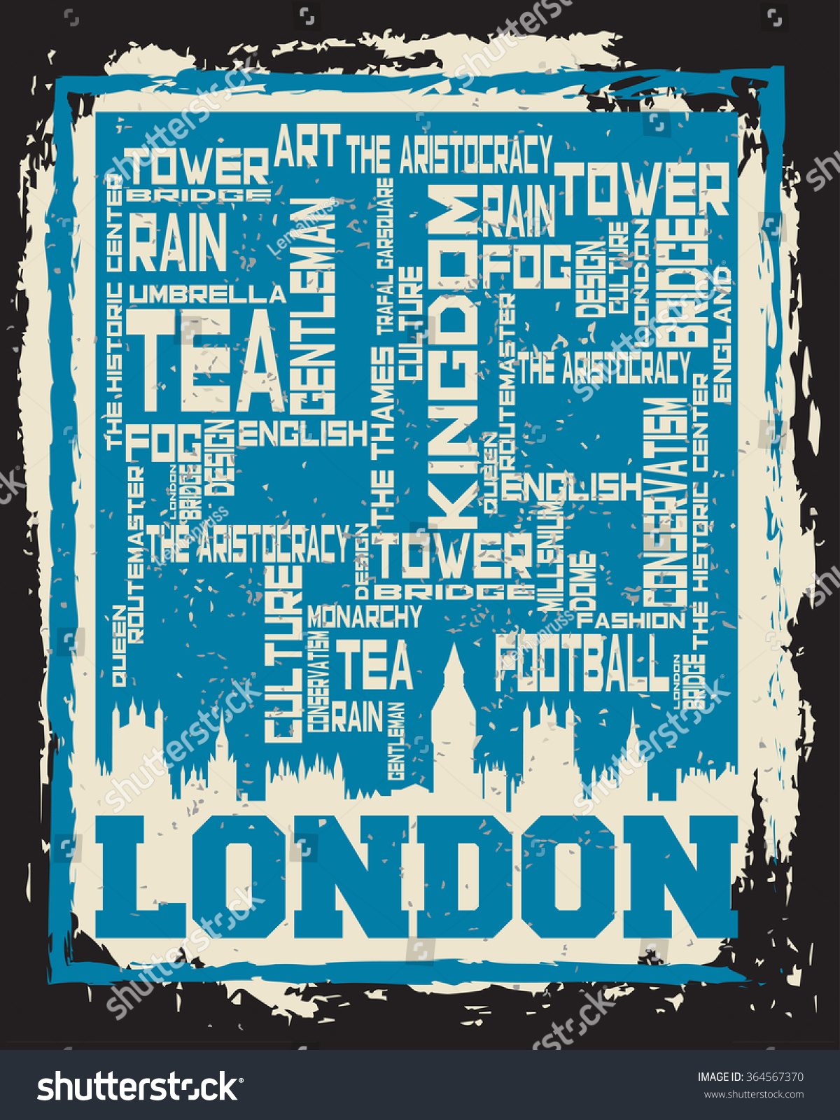 Poster design word - London City Concept Logo Label Word And Icon Cloud Hipster Style