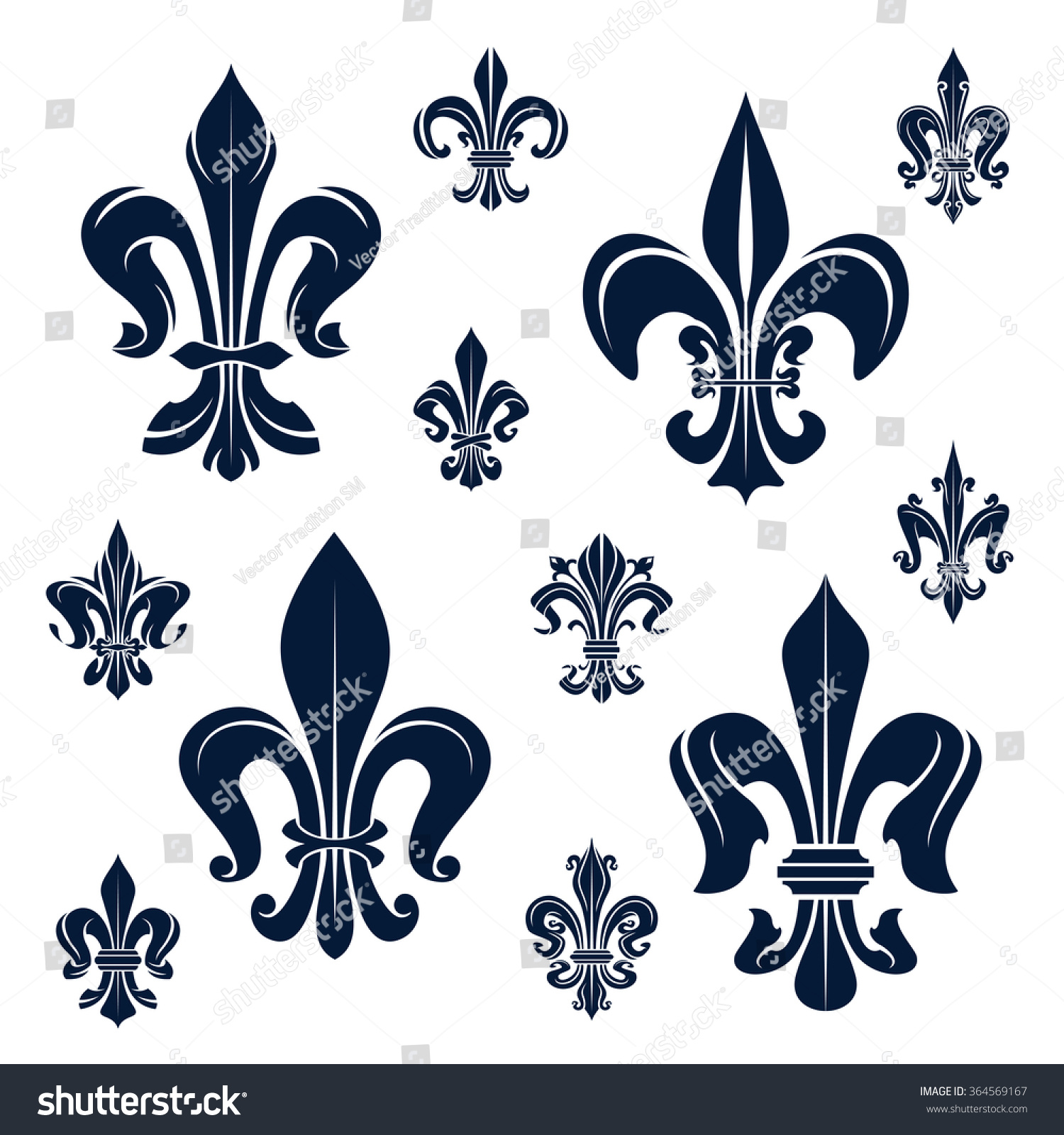 Royalty free french royal fleur de lis dark blue 364569167 stock french royal fleur de lis dark blue heraldic symbols with ornamental compositions of victorian biocorpaavc Gallery