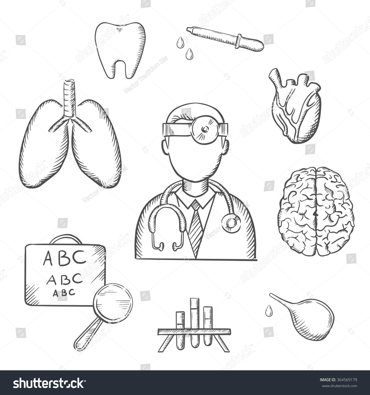 Medical sketch icons doctor encircled by stock vector 364569179 medical sketch icons with doctor encircled by an eye chart lungs tooth eye geenschuldenfo Choice Image