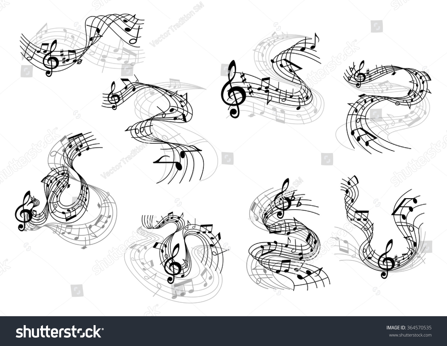 Art Music Symbols Black Silhouettes Notes Stock Vector Royalty Free