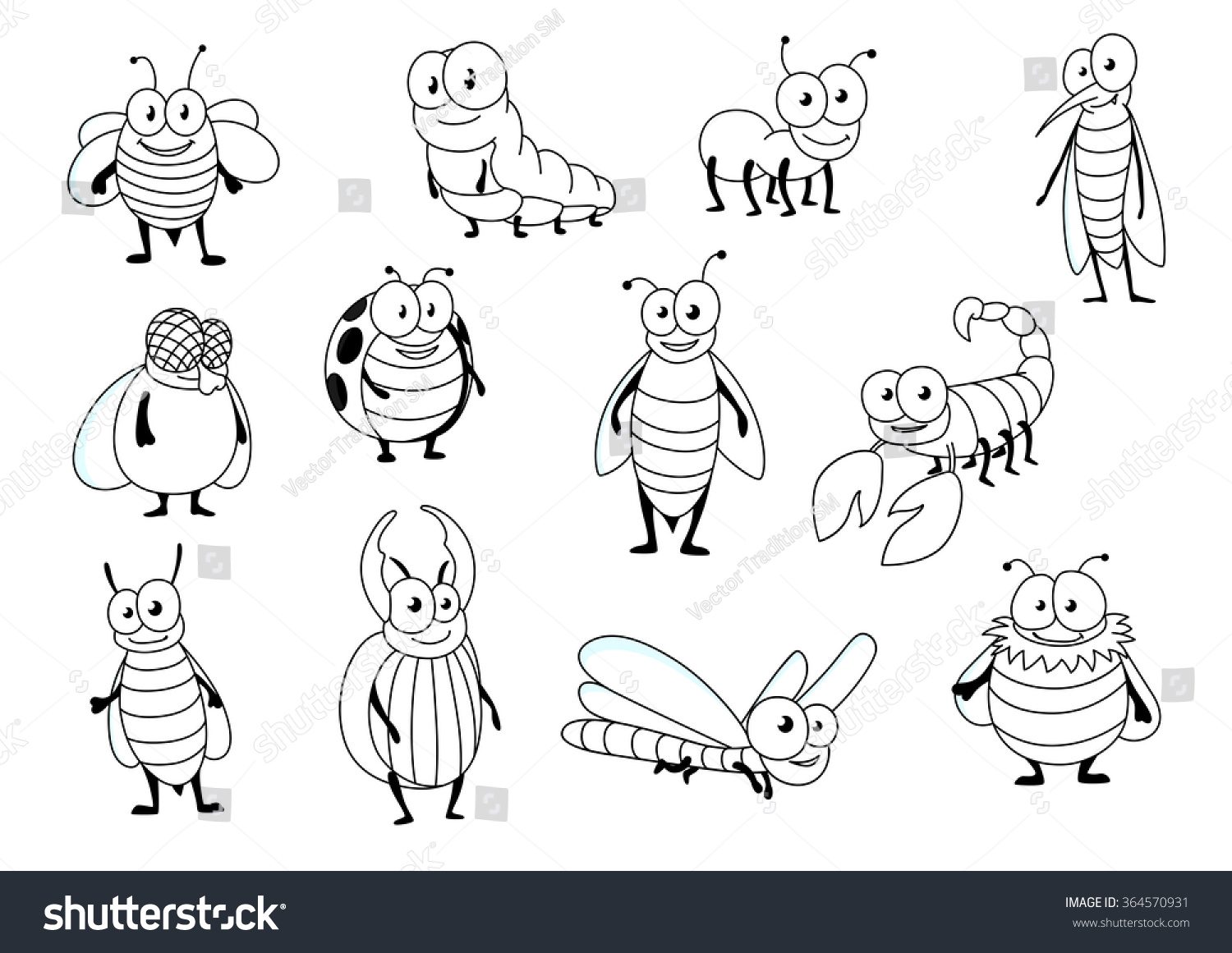 funny cartoon outline colorless bee ant stock vector royalty free
