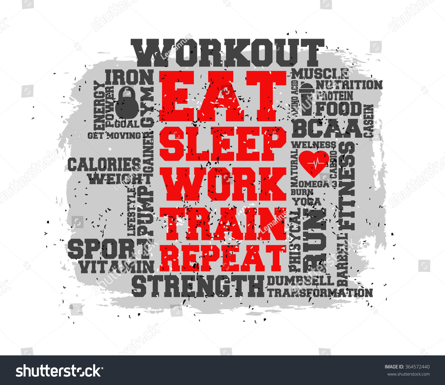 Poster design word - Eat Sleep Work Train Repeat Word And Icon Cloud T Shirt Design
