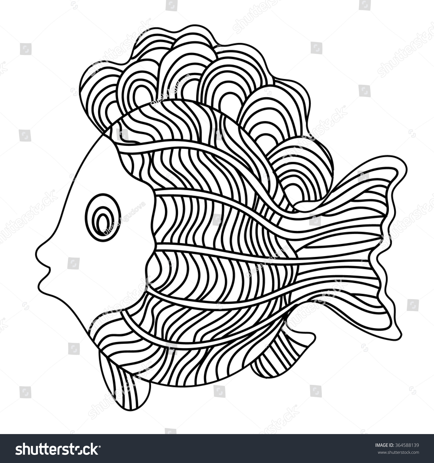 detailed ornamental sketch fish hand drawn stock vector 364588139