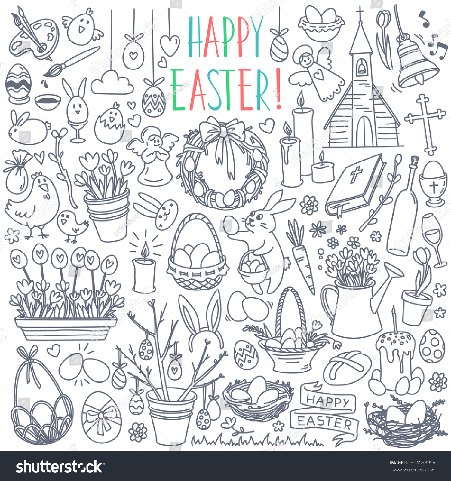 Easter traditional symbols collection eggs bunny stock vector easter traditional symbols collection eggs bunny willow twigs basket candles biocorpaavc