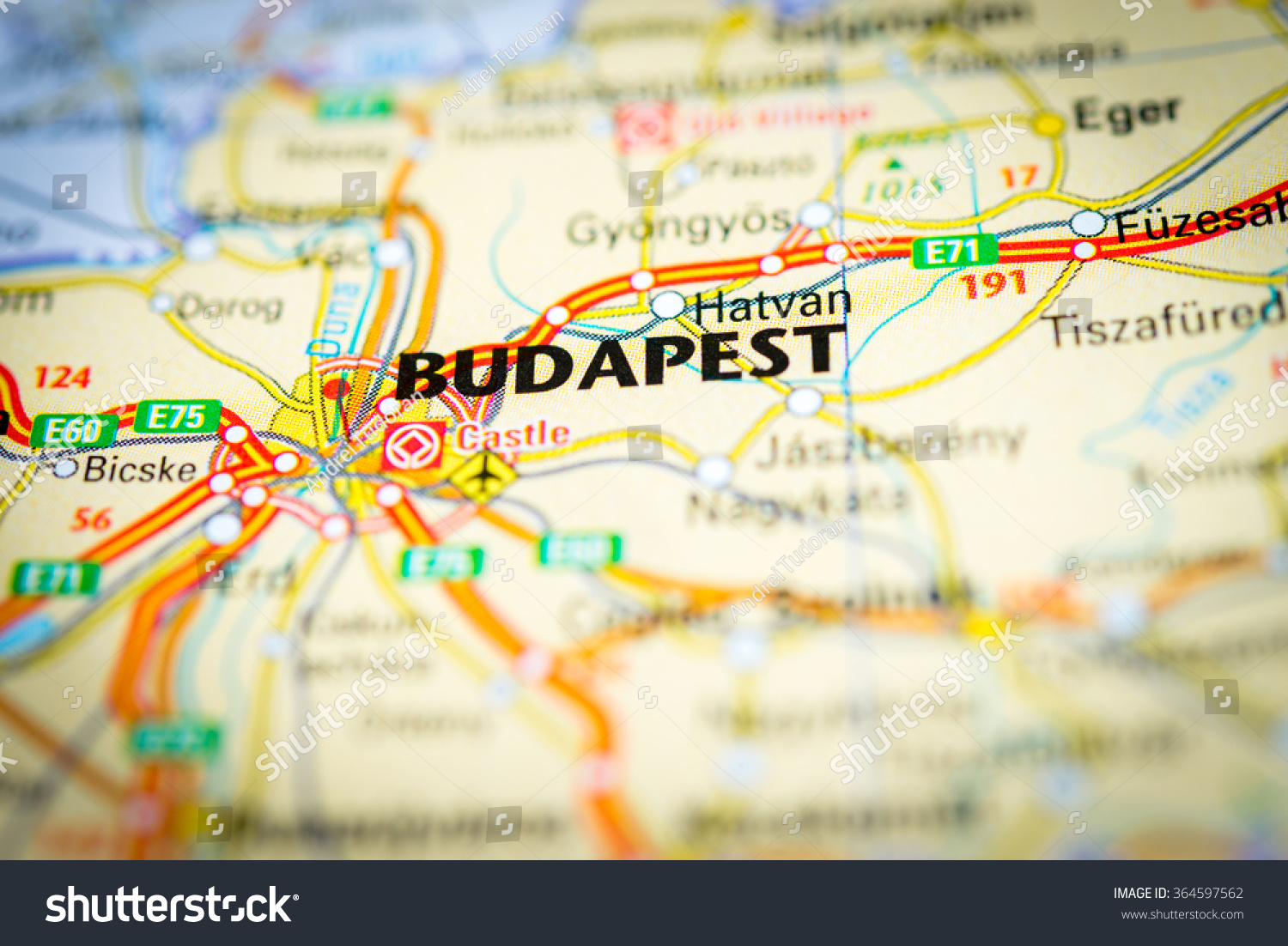 Macro View Budapest Hungary On Map Stock Photo (Edit Now) 364597562 ...