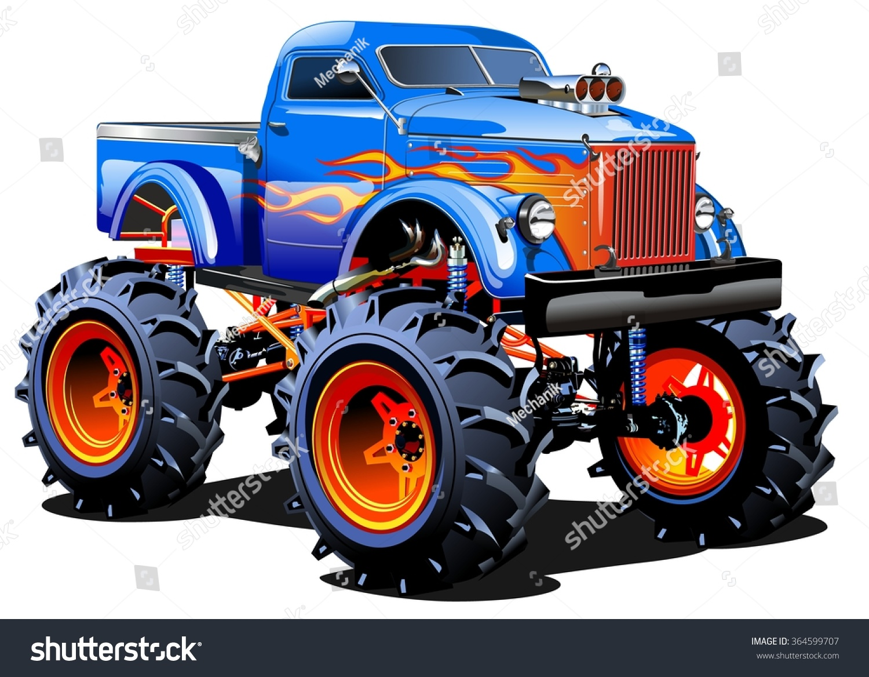 vector cartoon monster truck eps10 separated stock vector