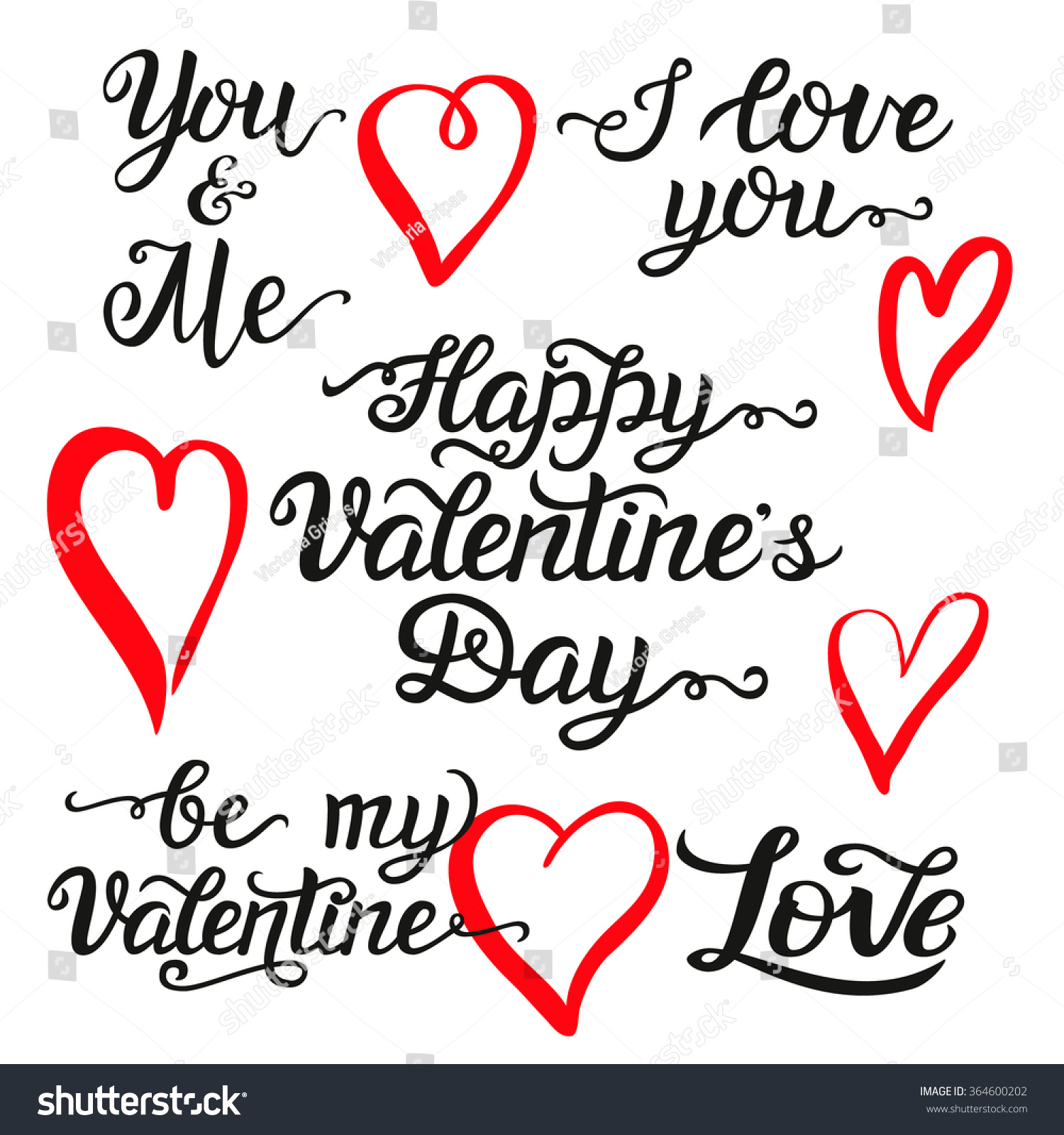 Valentine Day Hand Lettering Set Romantic Stock Vector Royalty Free