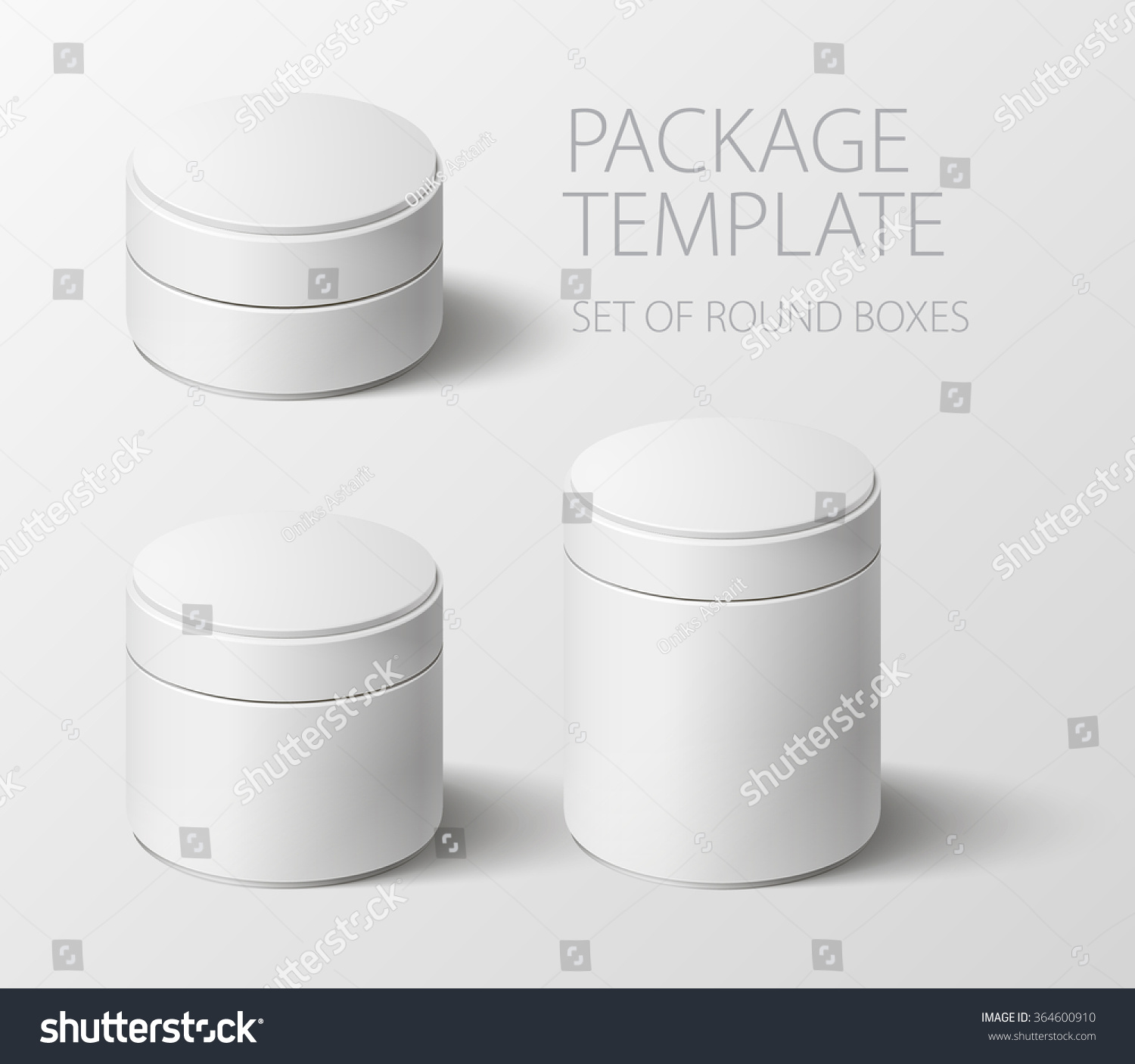 Set Realistic White Round Package Box Stock Vector Royalty Free