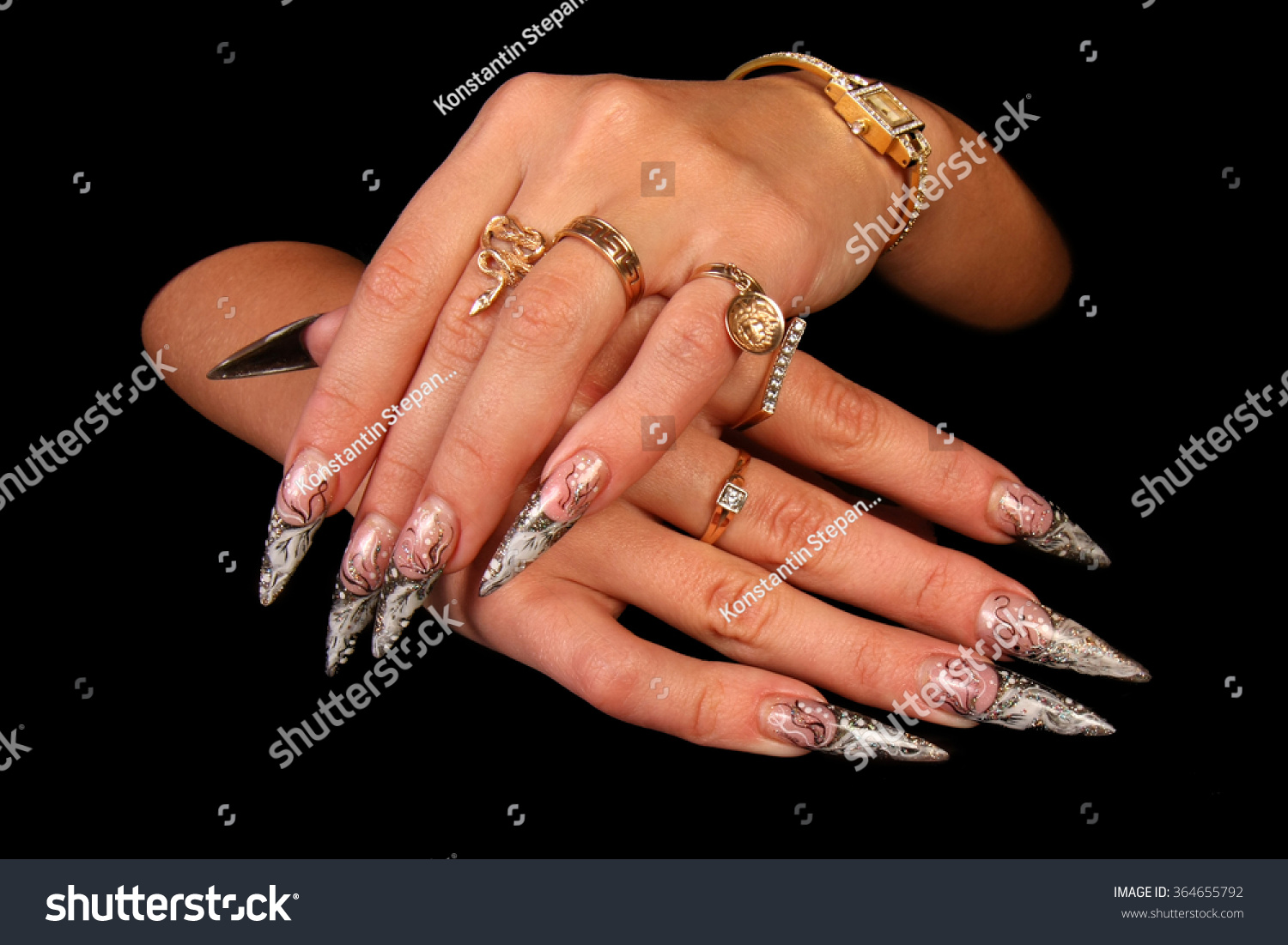 Pretty Woman Hand Perfect Painted Nails Stock Photo Royalty Free 364655792