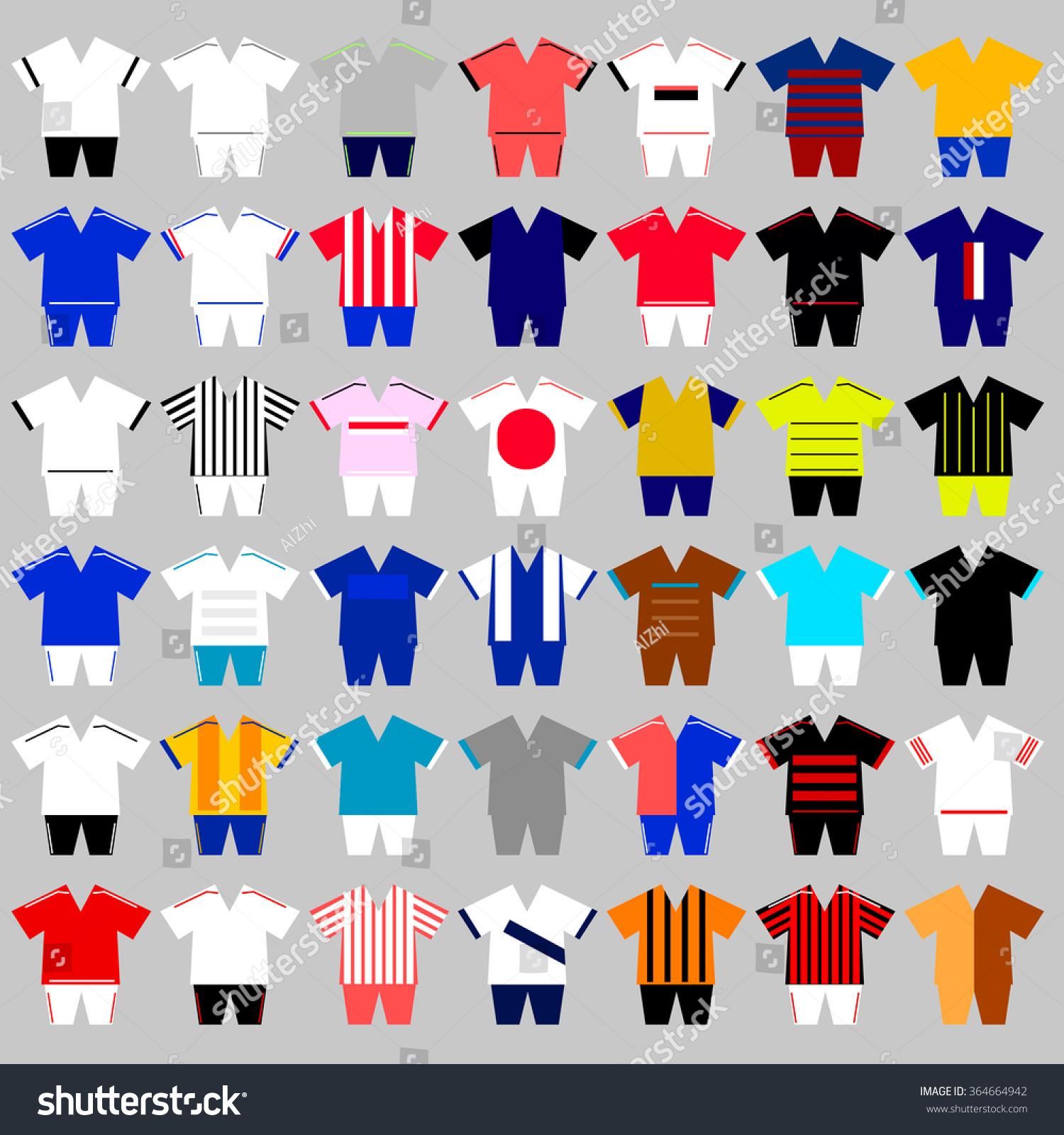 Set Different Football Uniform Formation Stock Vector