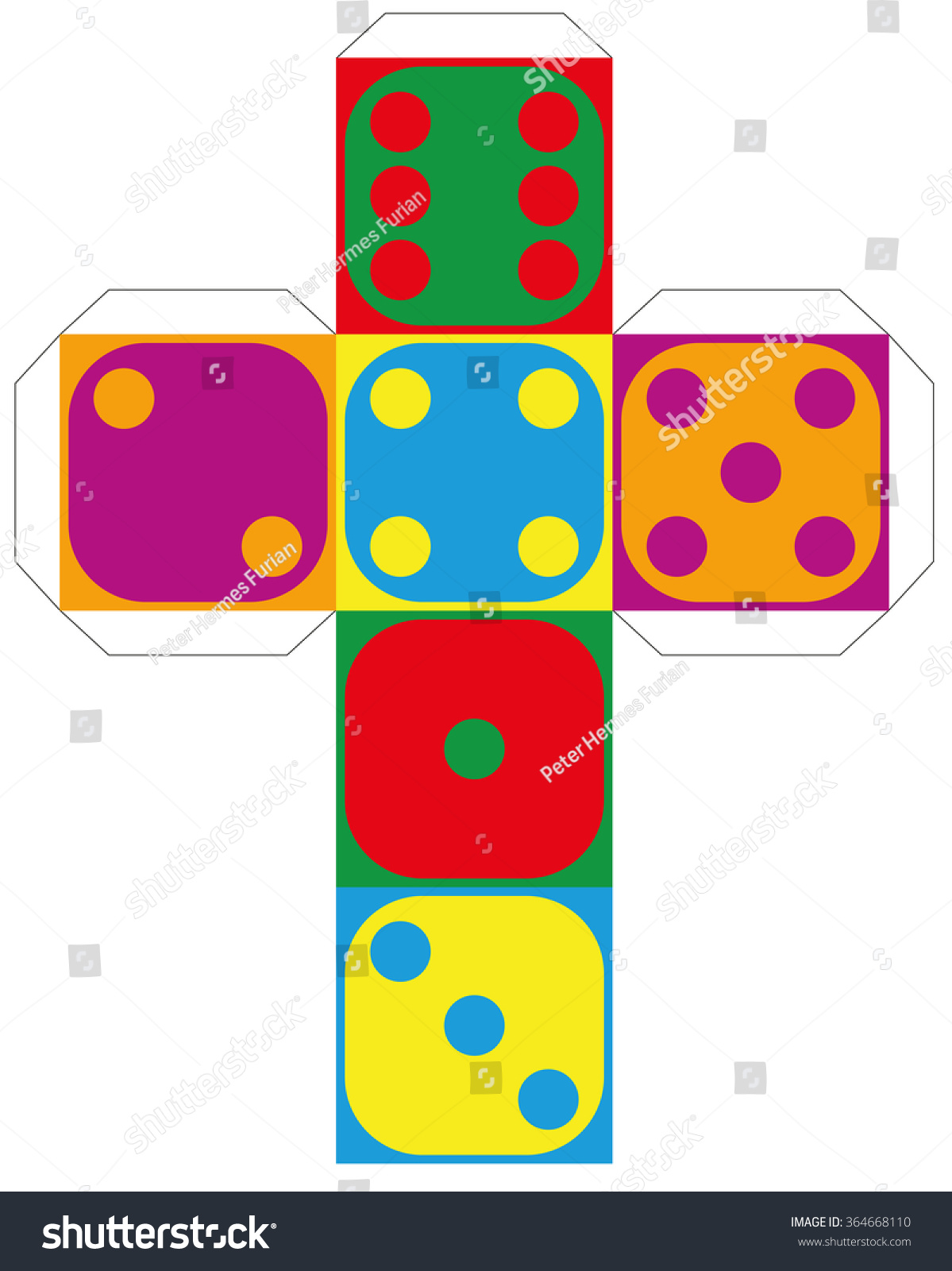 dice template model colorful cube make stock vector 364668110, Powerpoint templates