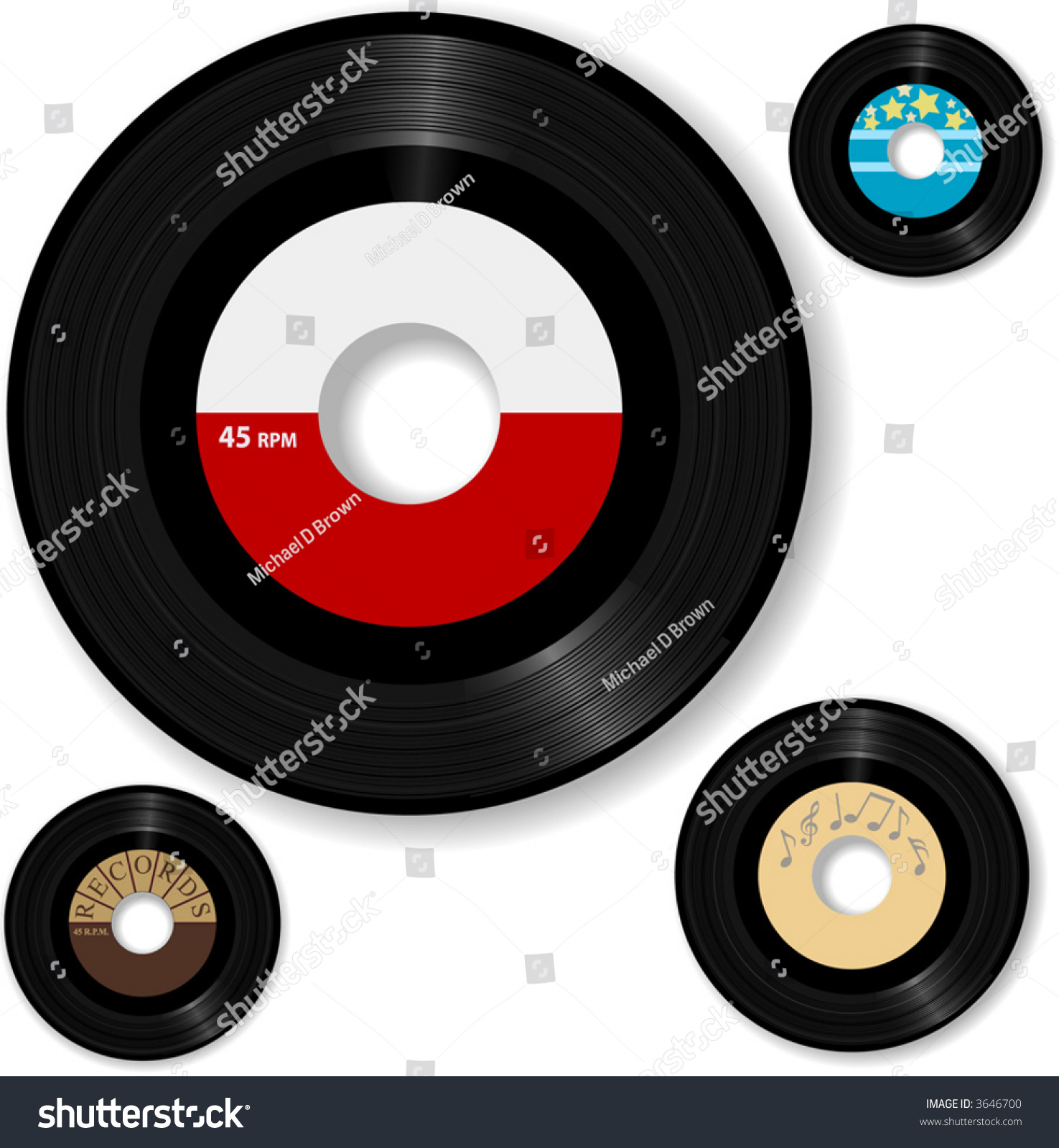 Retro 45 Rpm Record Sample Designs Stock Vector 3646700