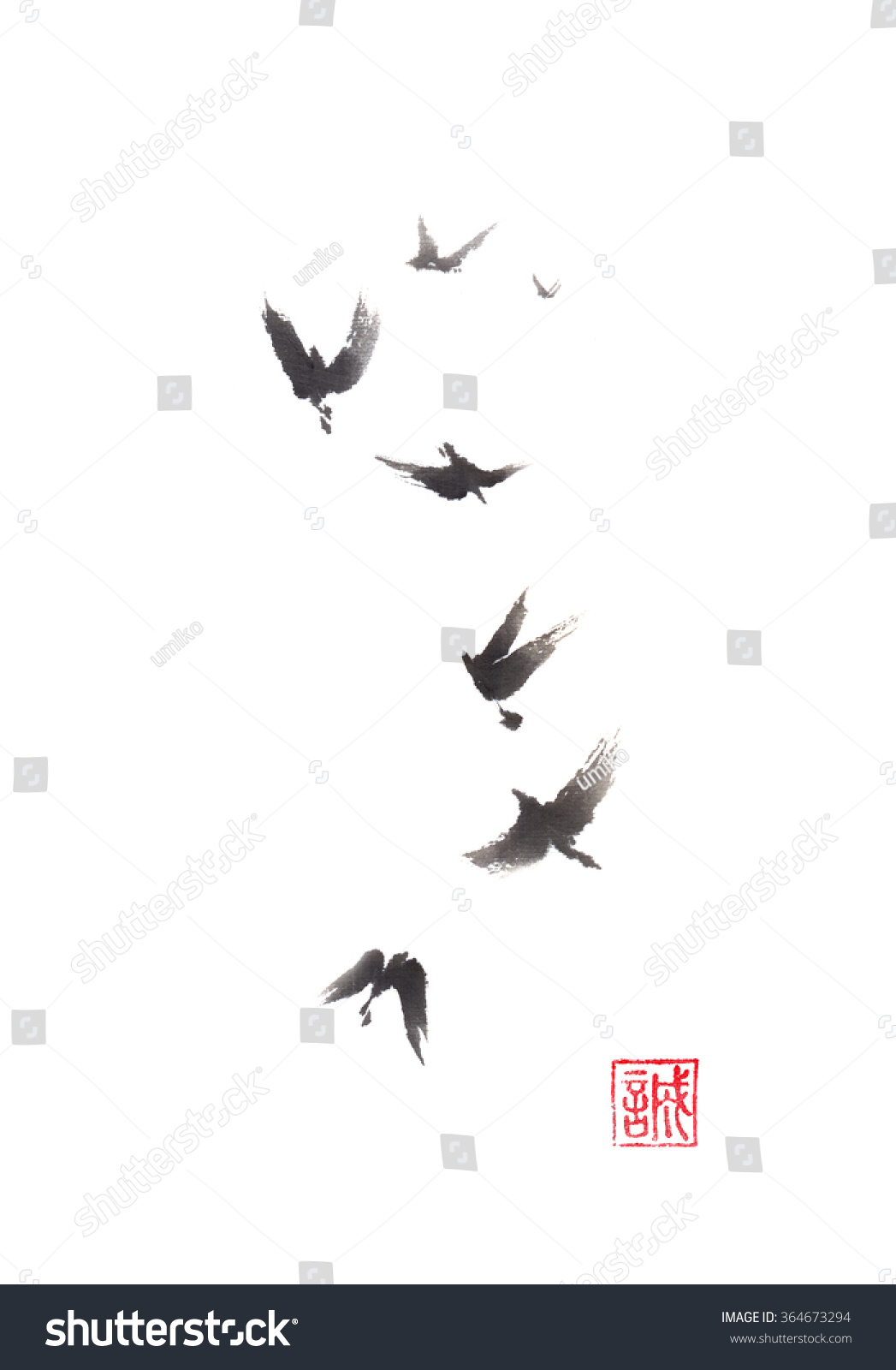 Flying Birds Japanese Style Original Sumie 364673294