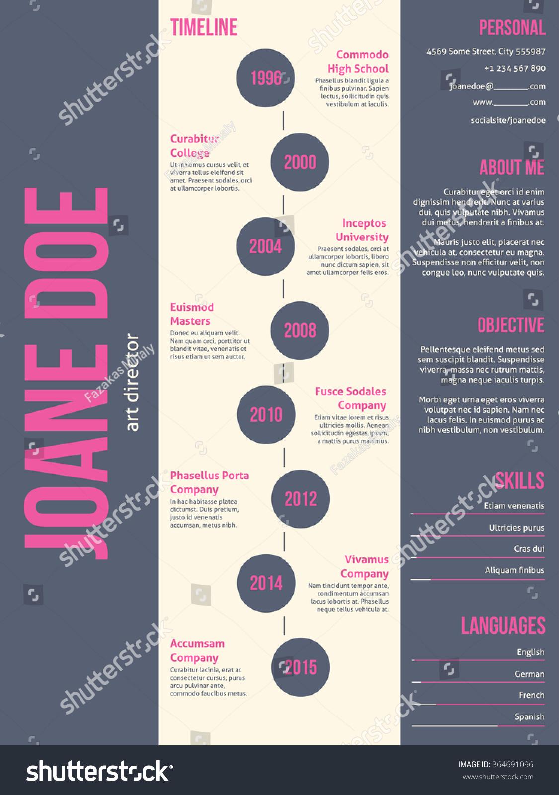 Pink Gray Modern Resume Cv Curriculum Stock Vector 364691096
