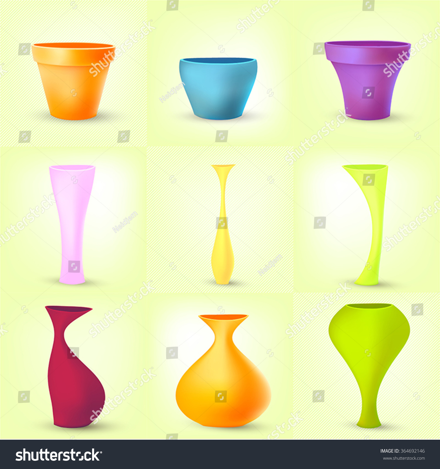 Set colored glass vases different shapes stock vector 364692146 set of colored glass vases of different shapes floridaeventfo Image collections