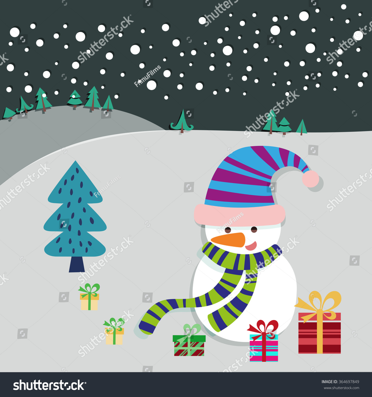 Christmas Eve Landscape Snowman Xmas Tree Stock Vector (Royalty Free ...