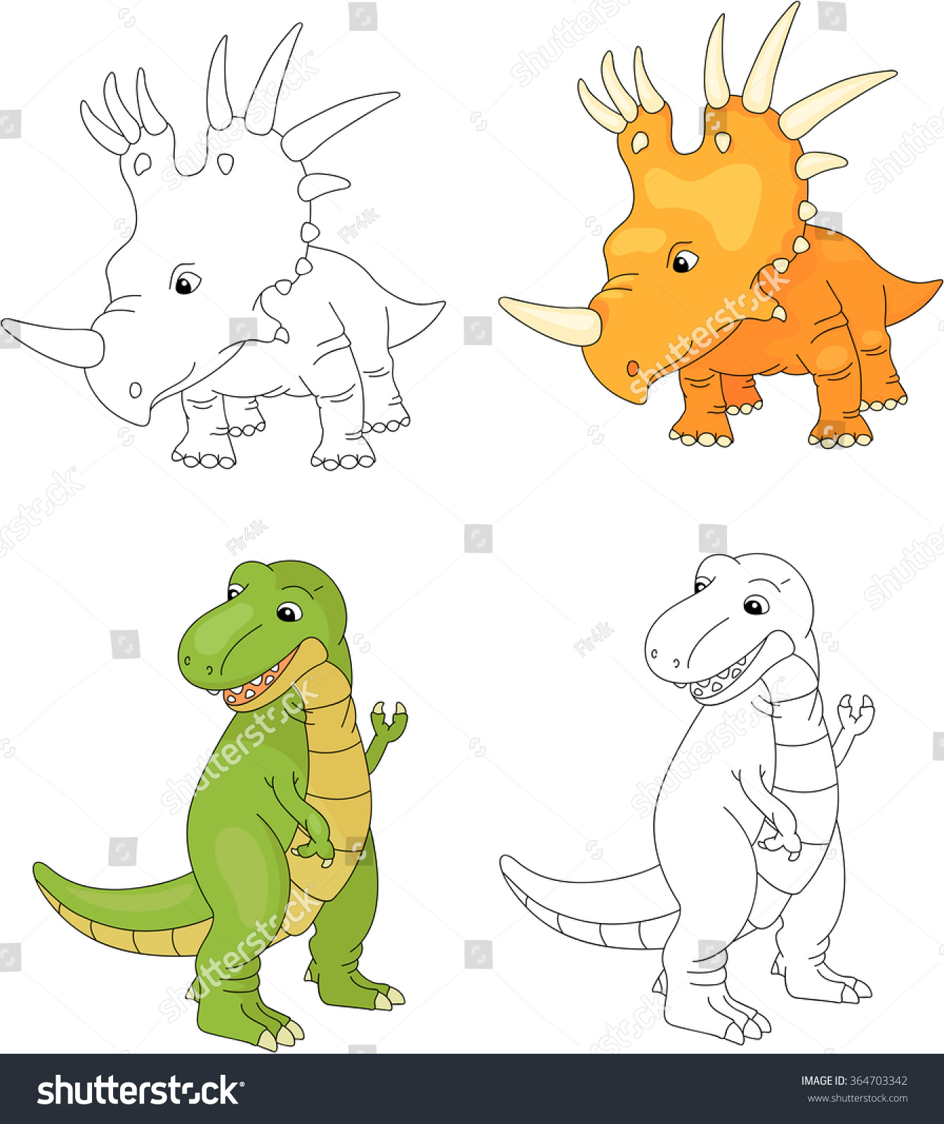 Co color books for kids to color - Co Color Books Game Funny Cute Tyrannosaurus And Styracosaurus Educational Game For Kids Coloring Book