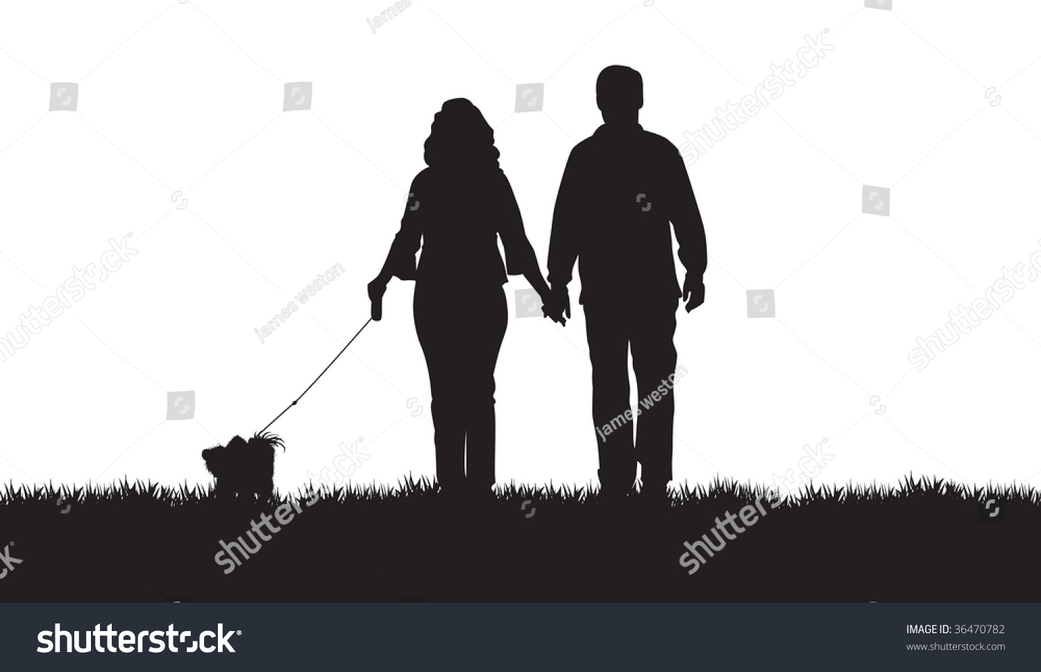 silhouette couple walking their dog stock vector 36470782