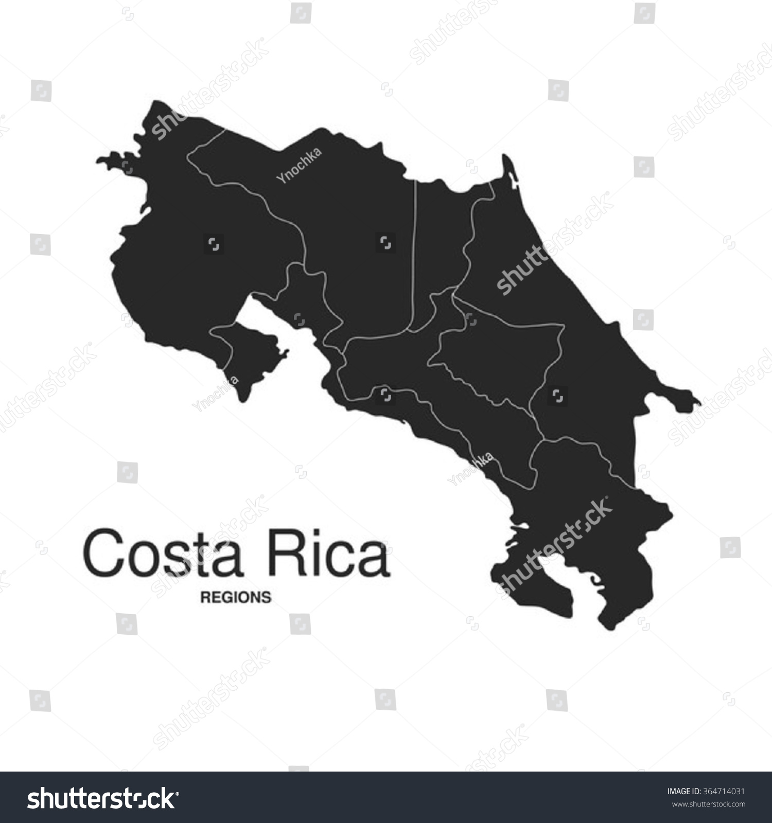 Costa Rica Silhouette Regions Map Stock Vector - Costa rica regions map