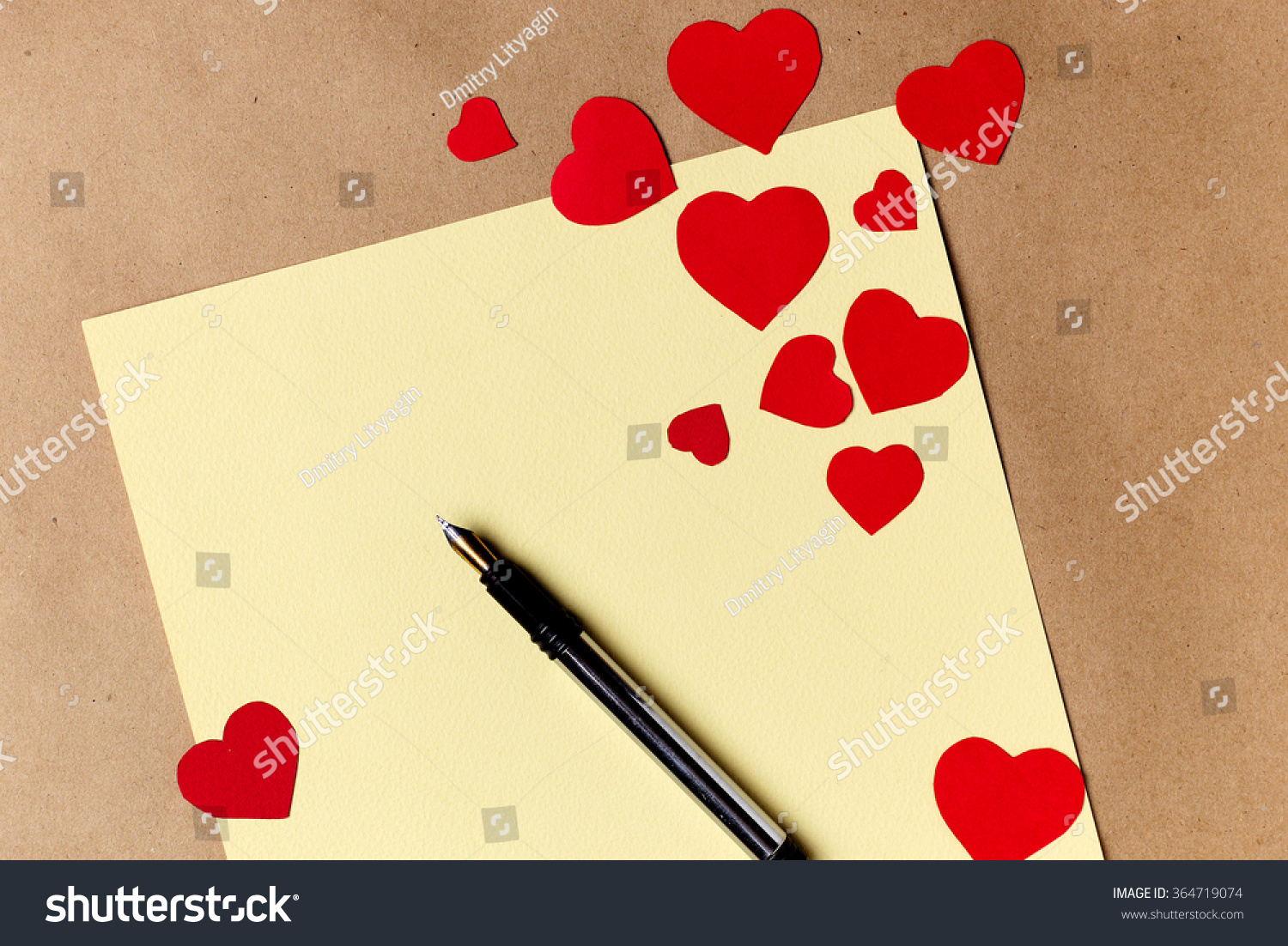 Beautiful hand made post cards with paper hearts on color wooden ...