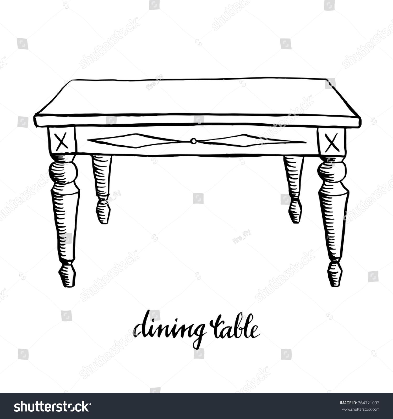Vintage dining table vintage furniture interior design for Table design sketch