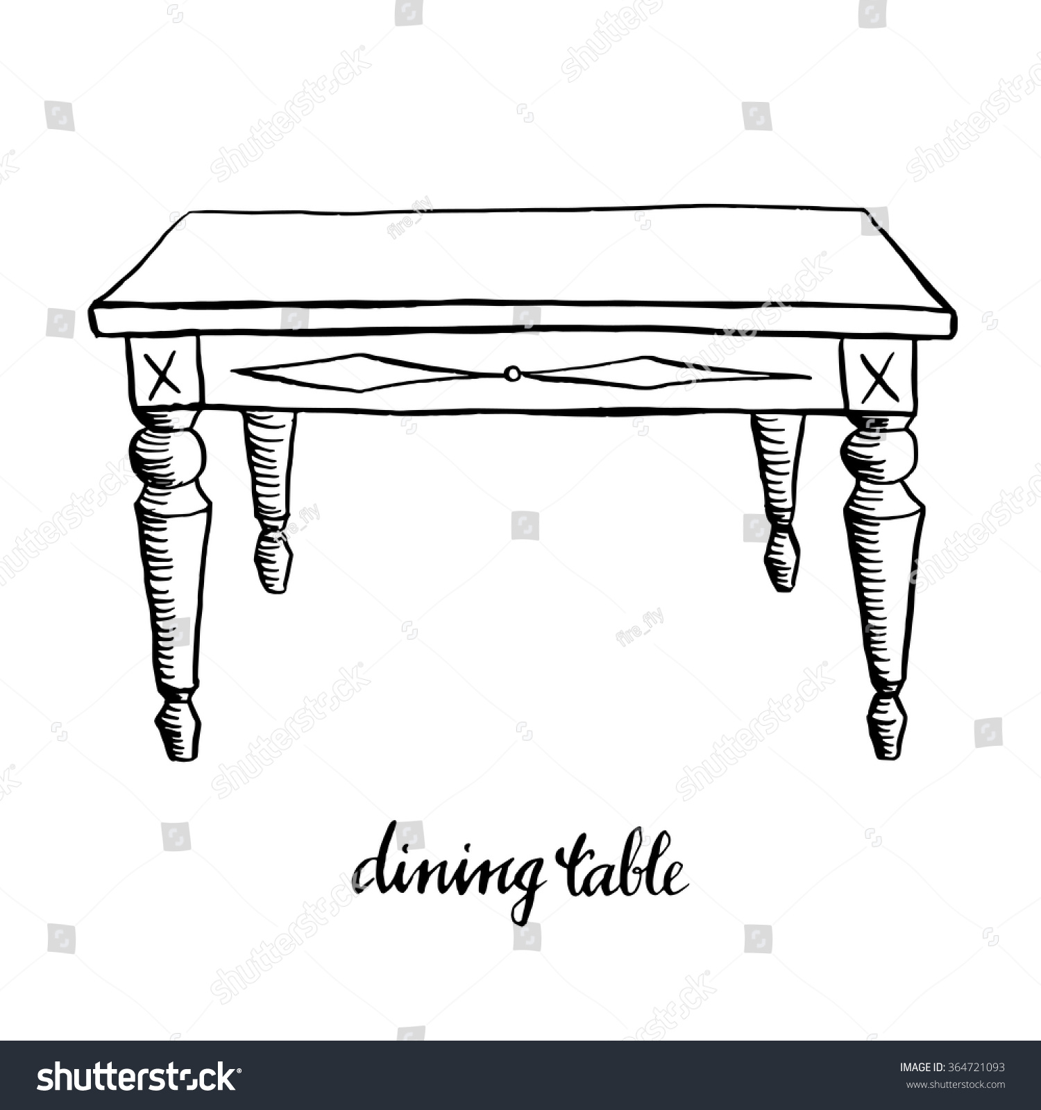 vintage dining table vintage furniture interior stock vector 364721093