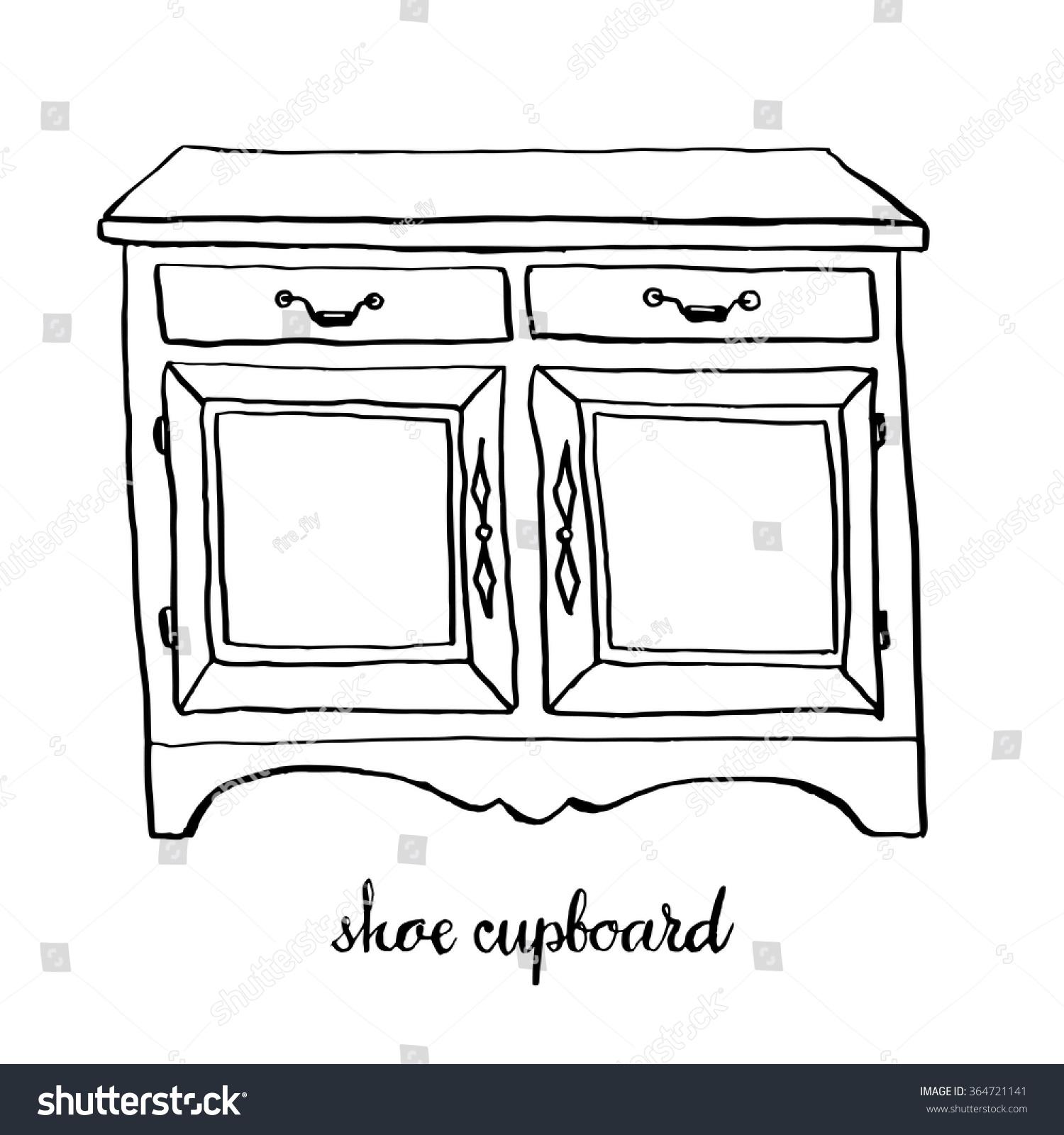 Vintage Shoe Cupboard Furniture Interior Design Elements Hand Drawn Ink Sketch Illustration
