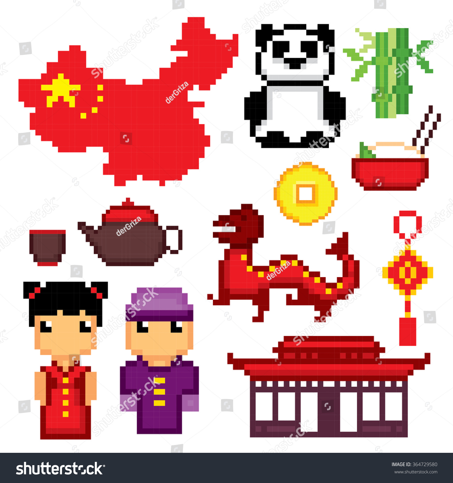 Royalty Free China Culture Symbols Icons Set Pixel 364729580