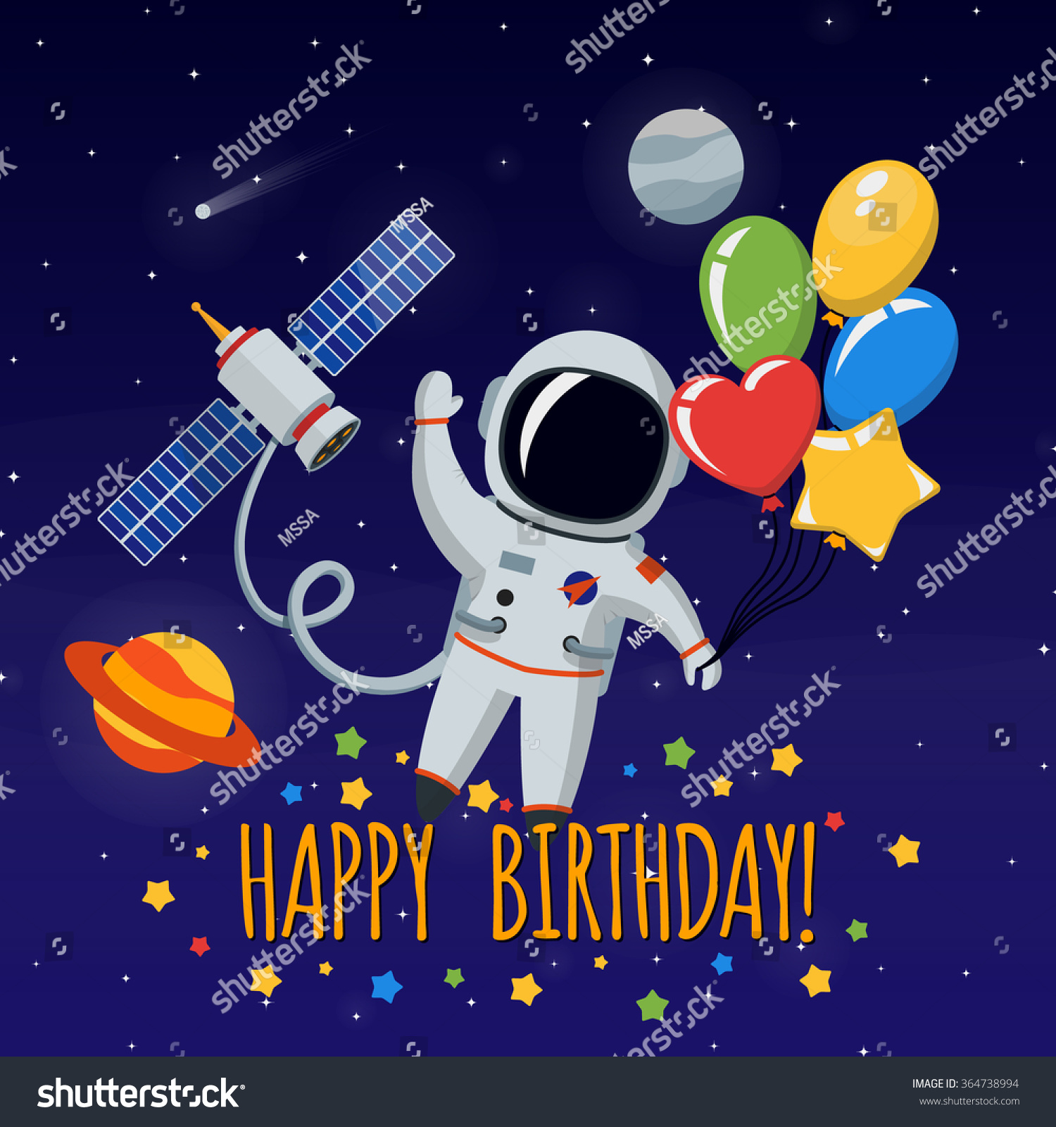 Cute Astronaut In Outer Space. Congratulation Happy ...
