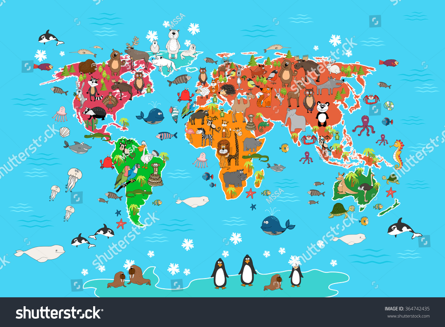 World Map With Animals Monkey And Hedgehog Bear And