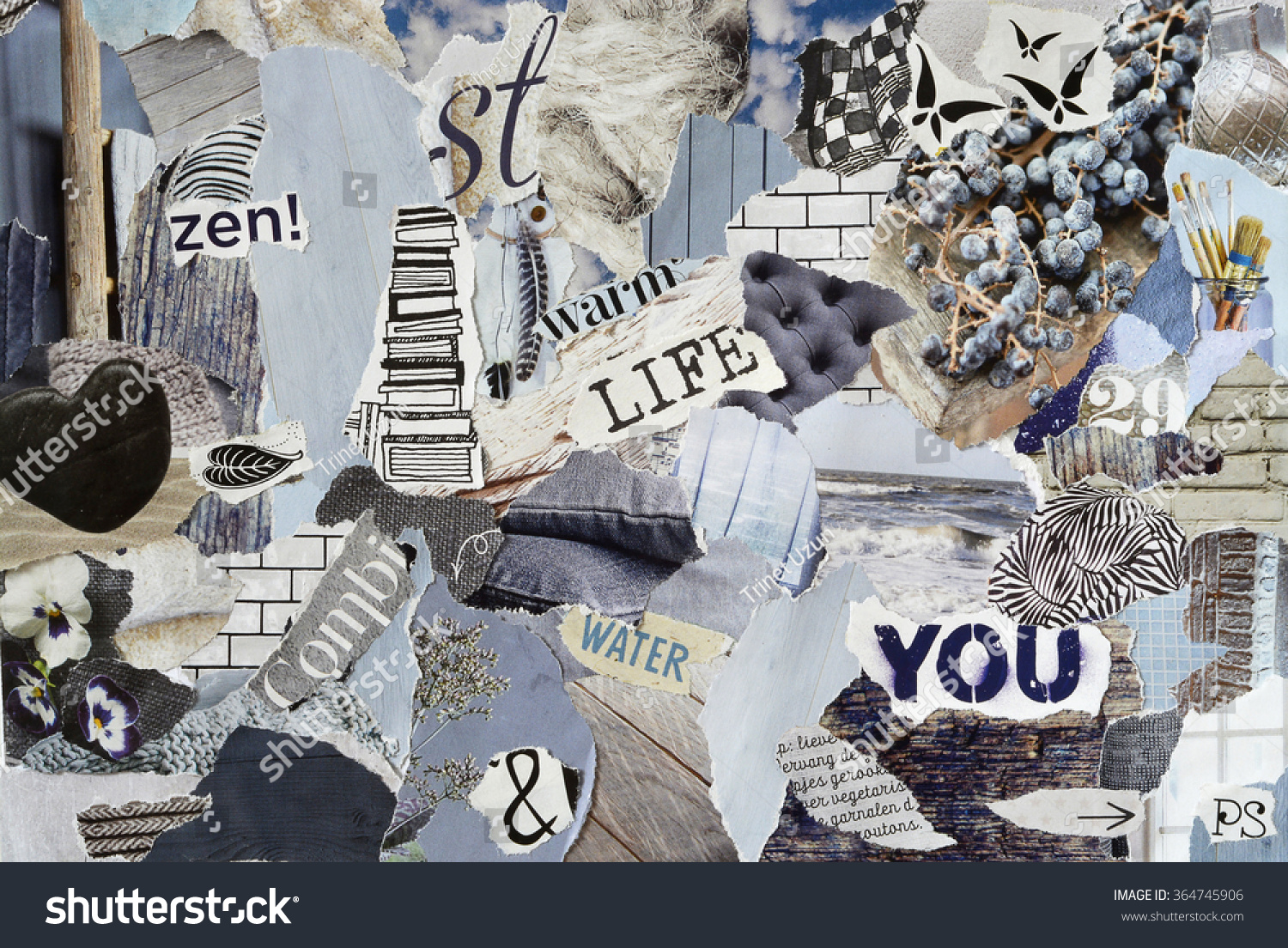Color zen magazine - Atmosphere Color Ice Blue Grey Brown Black And White Mood Board Collage Sheet