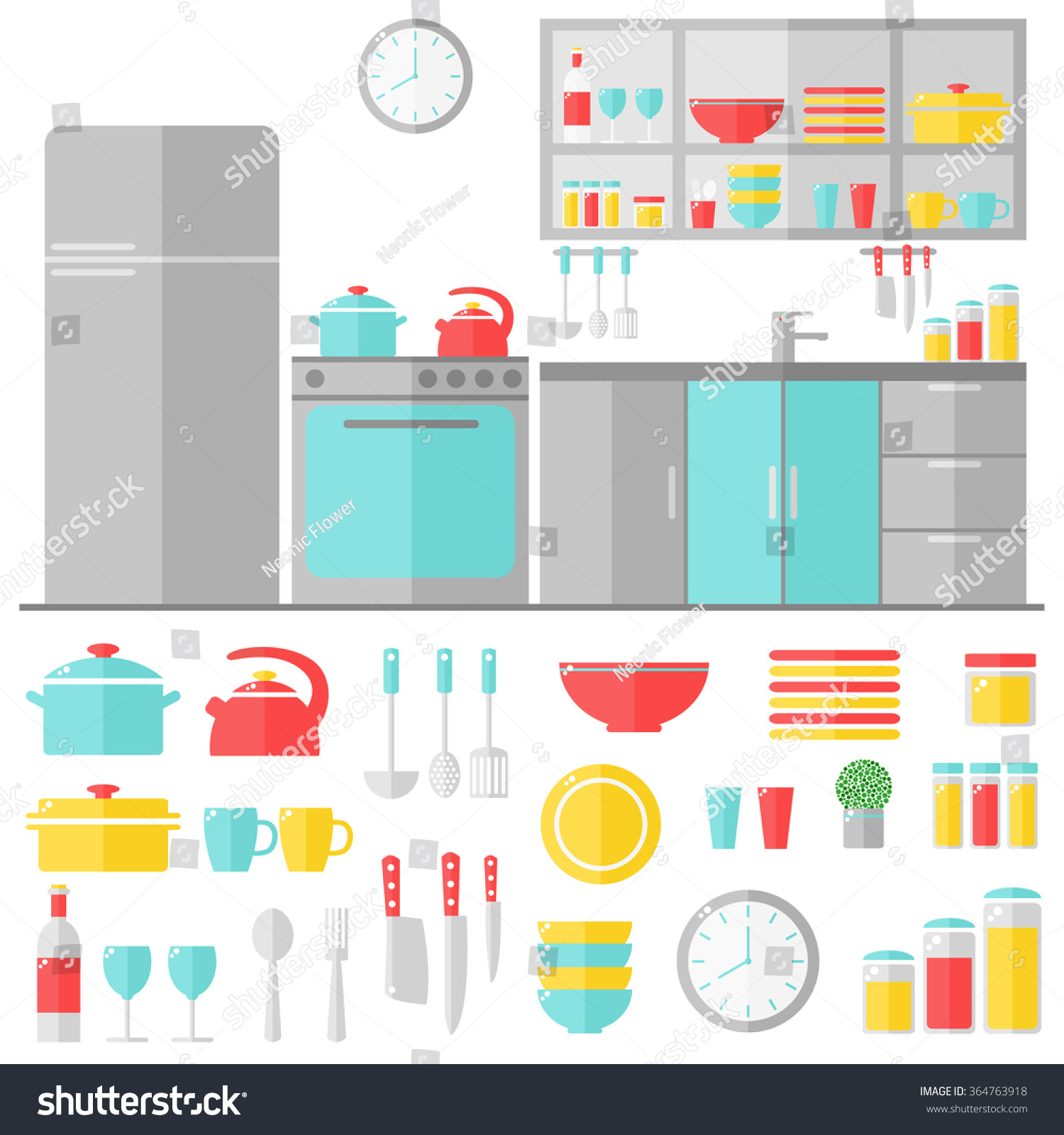 Kitchen Interior Cooking Utensils On White Stock Illustration ...