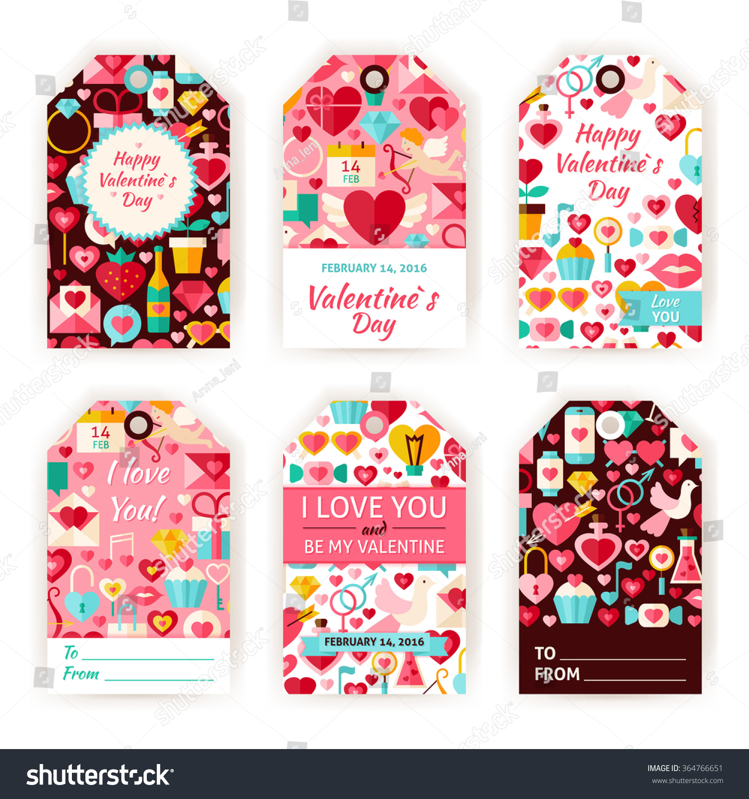 Happy Valentine Day Gift Tag Template Set Flat Design Vector Illustration of love labels Printable Holiday colorful badge design