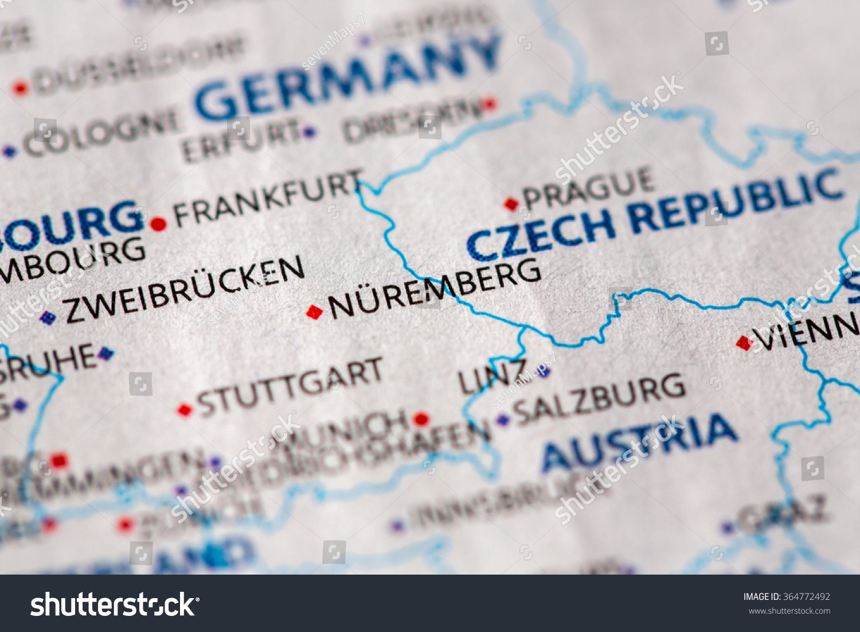 Closeup Nuremberg Germany On Political Map Stock Photo Edit Now