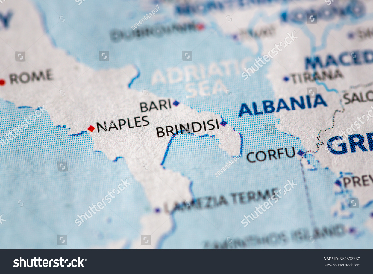 Closeup Brindisi Italy On Political Map Stock Photo 364808330