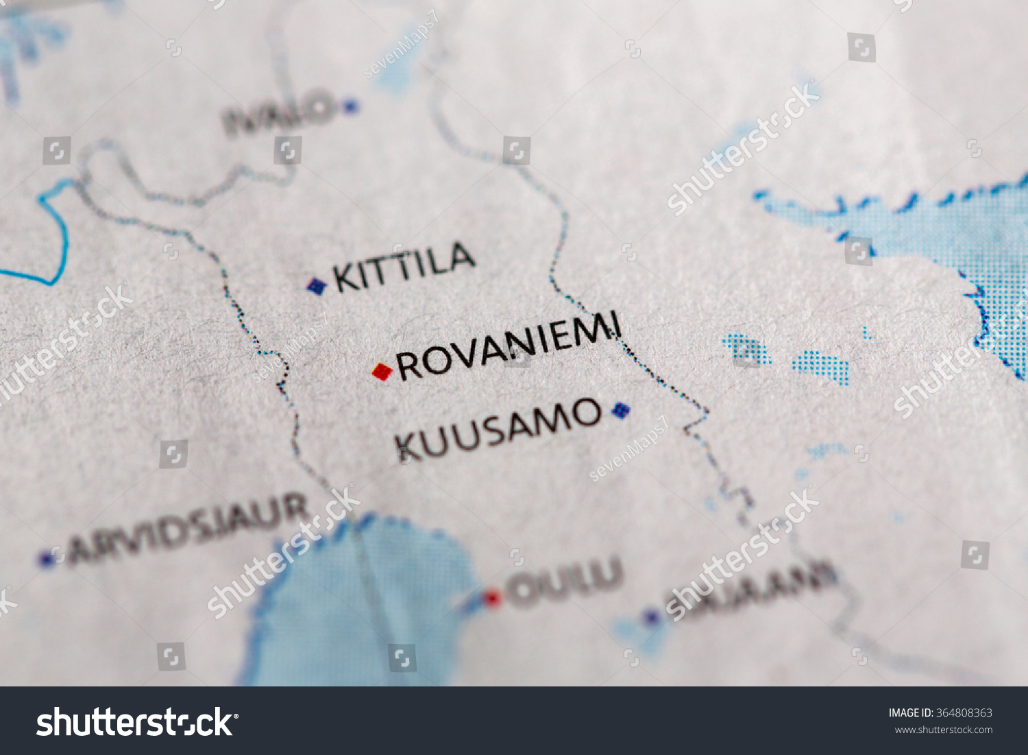 Closeup Rovaniemi Finland On Political Map Stock Photo Royalty Free