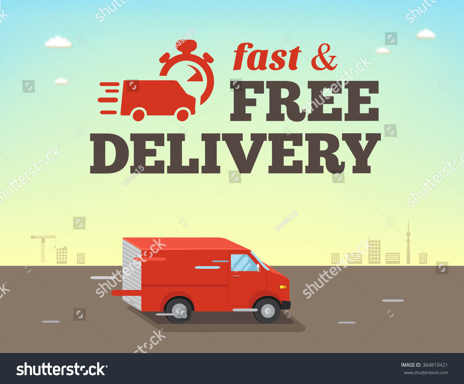 Illustration Of Fast Shipping Concept. Truck Van Of