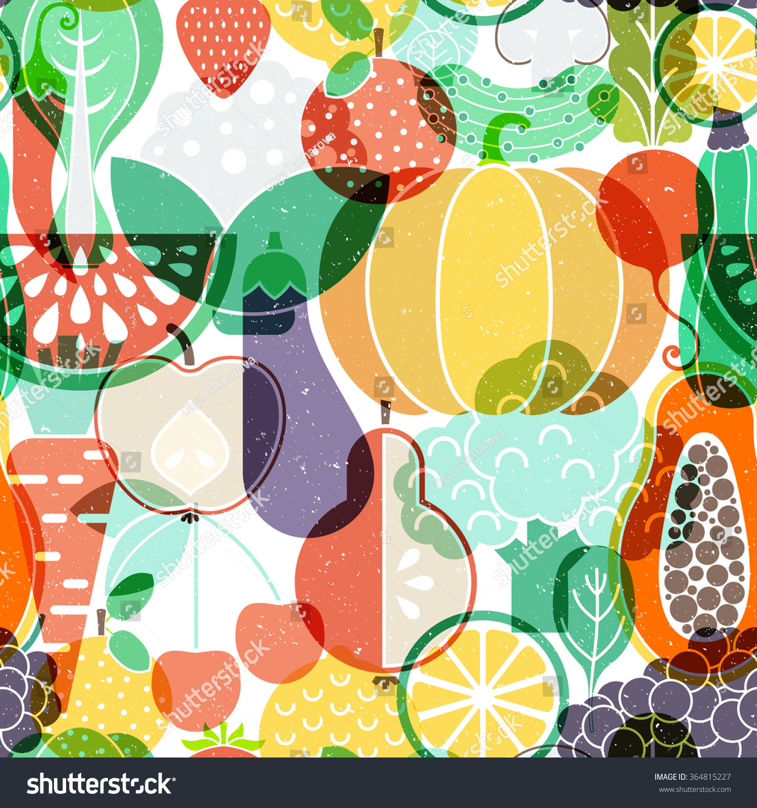 Seamless Vector Background Different Fruits Vegetables ...