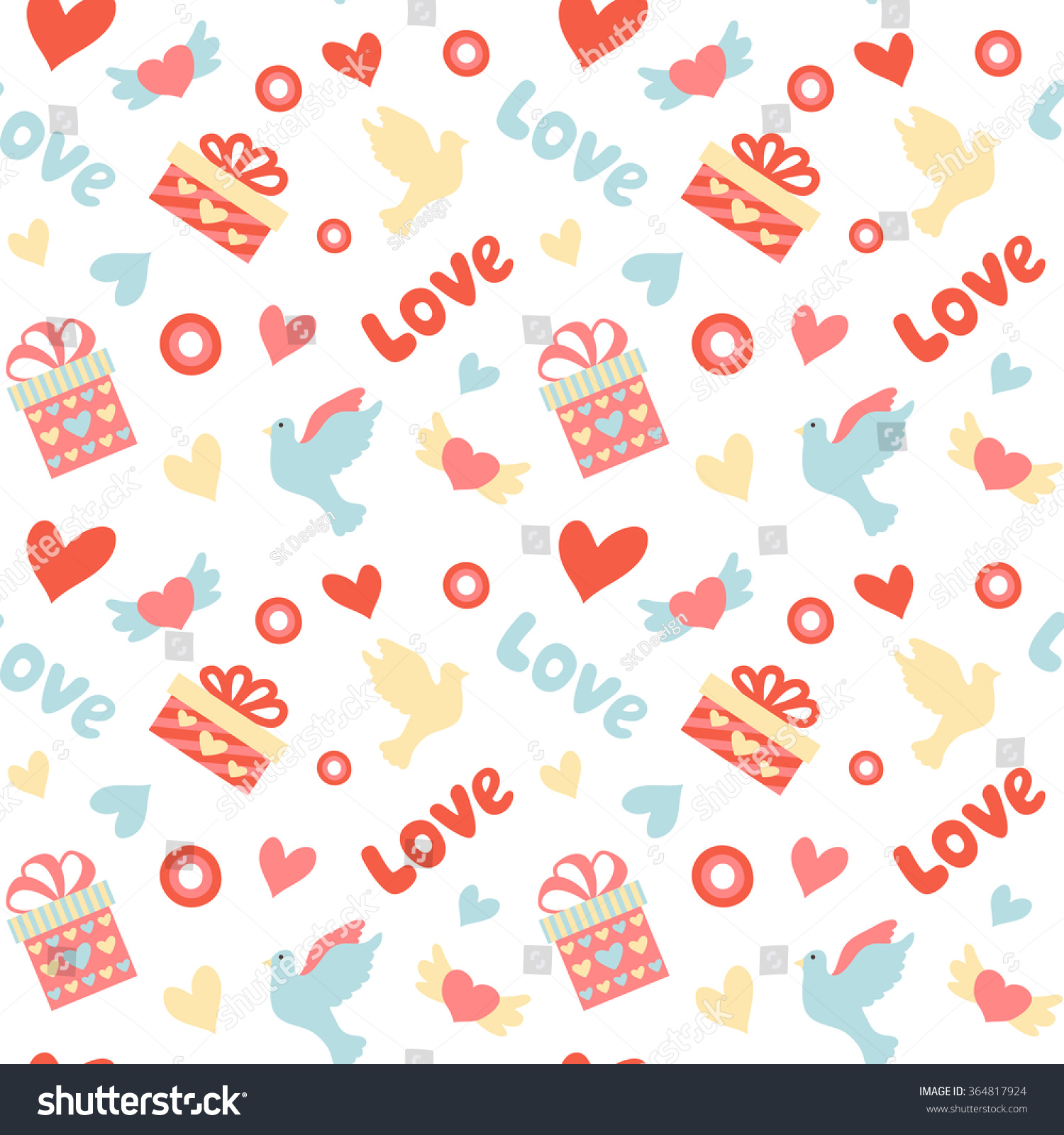 Romantic vector seamless background greeting card wallpaper vector art -  Vectors Illustrations Footage Music Romantic Seamless Pattern With Love Words Heart Shapes Birds And Gifts Good For